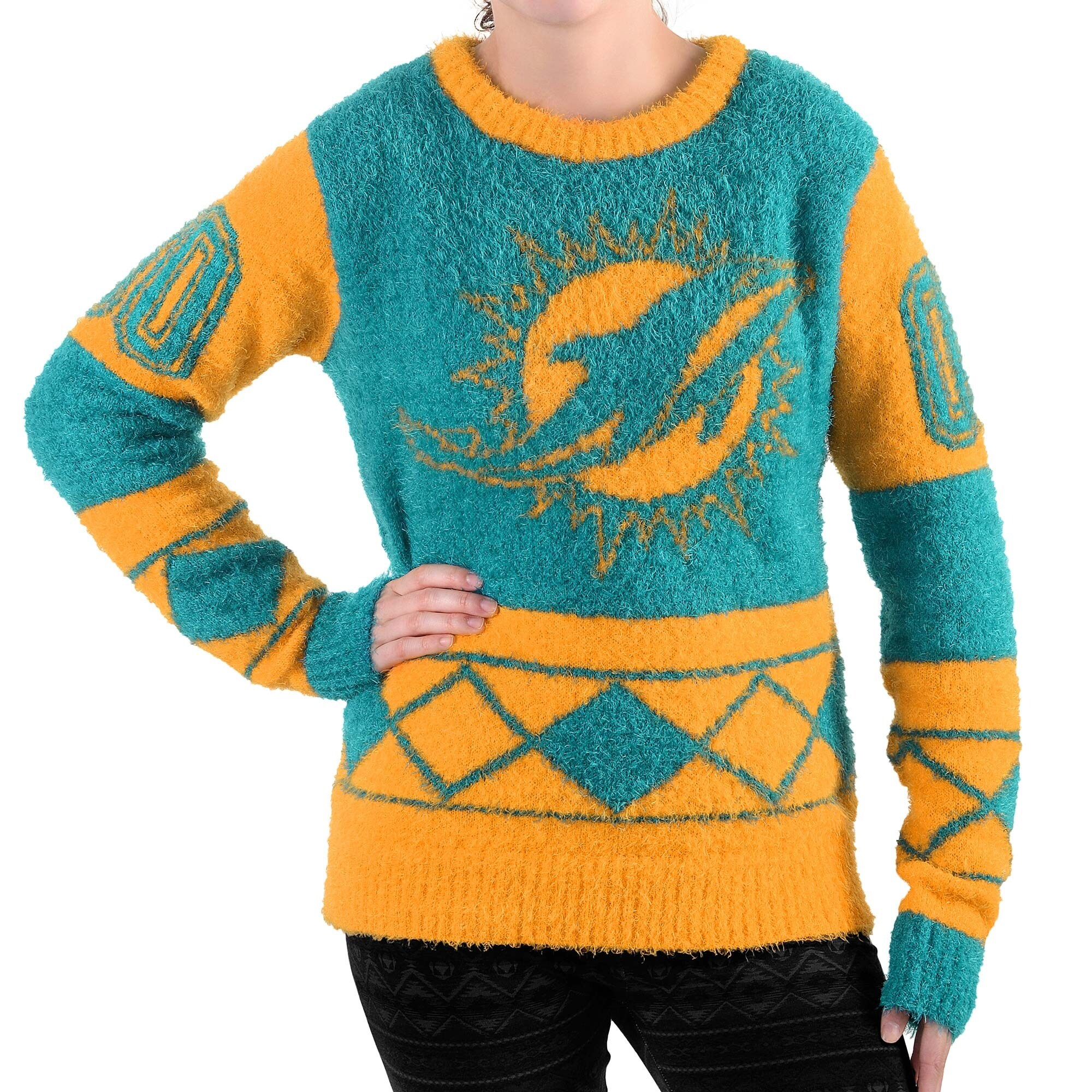 Miami Dolphins Klew Women's Eyelash Crew Ugly Sweater - Aqua