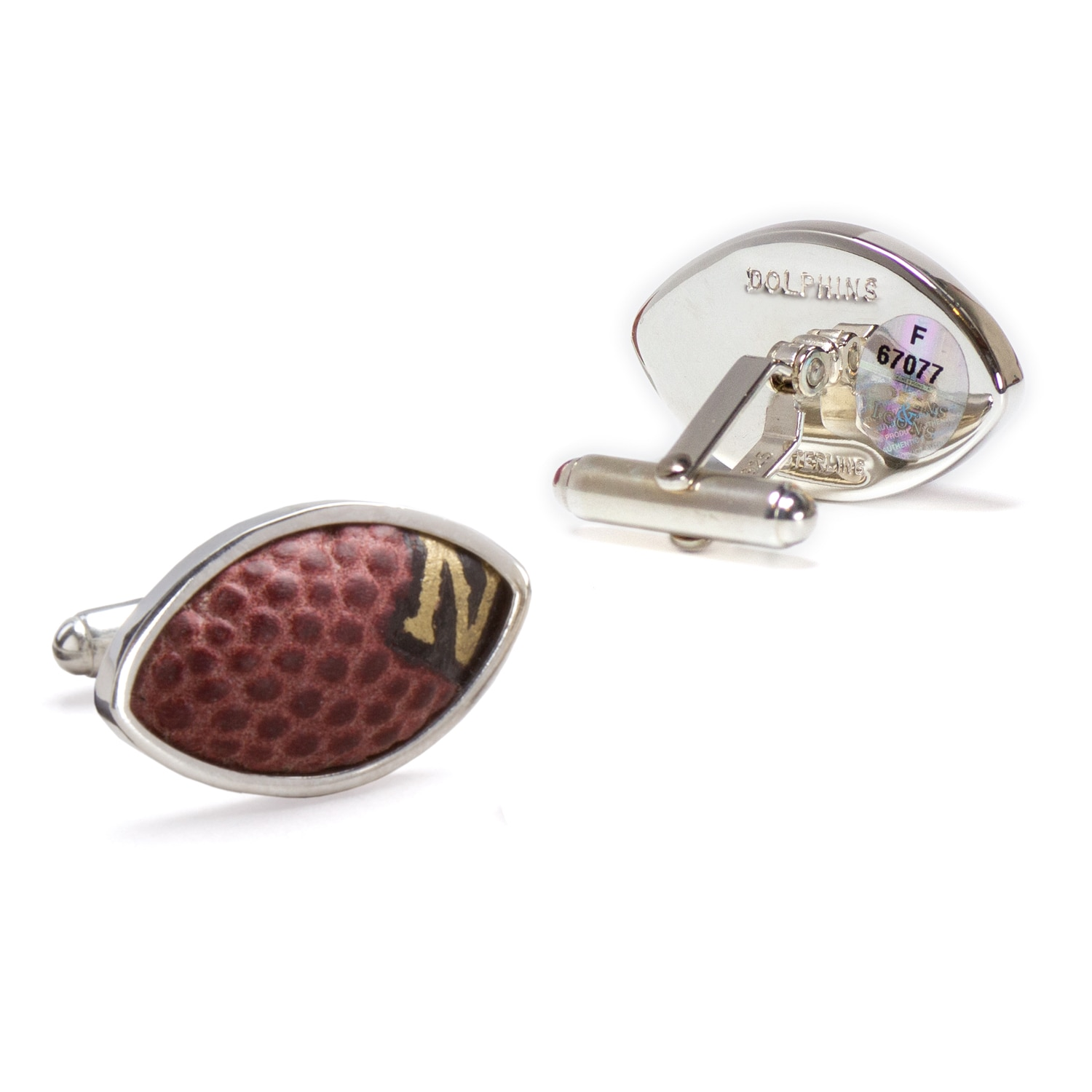 Miami Dolphins Tokens & Icons Game-Used Football Cuff Links