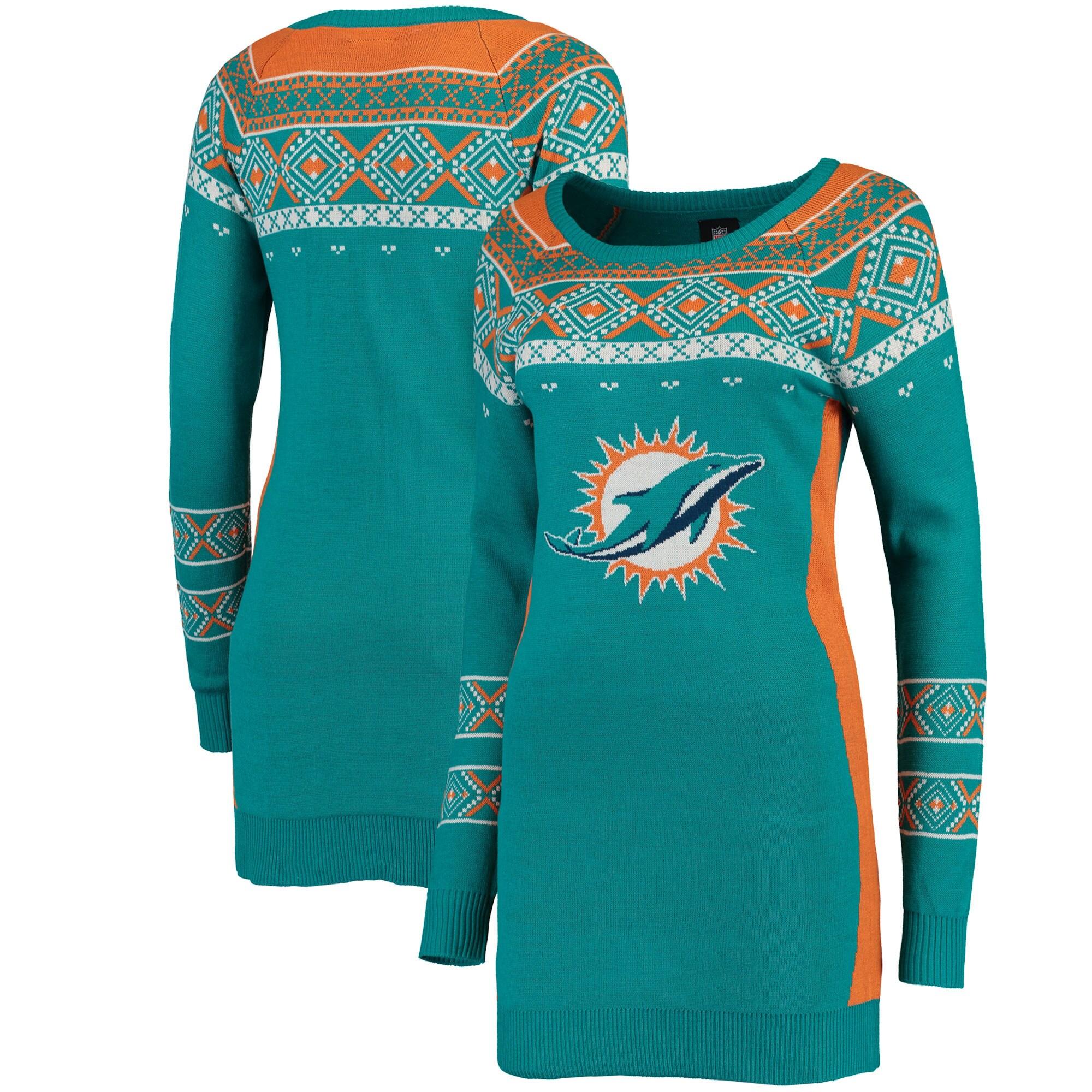 Miami Dolphins Klew Women's Big Logo Ugly Sweater Dress - Aqua