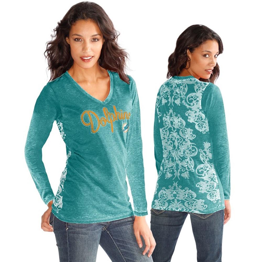 Miami Dolphins Touch by Alyssa Milano Women's Audrey Long Sleeve T-Shirt - Aqua