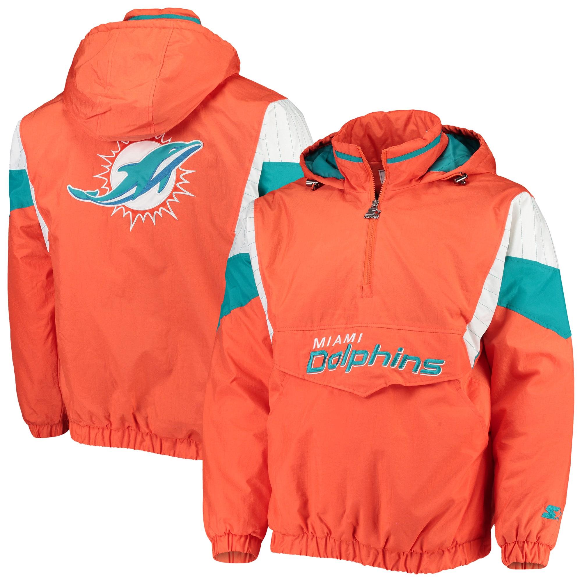 Miami Dolphins Starter NFL 100 Thursday Night Lights Quarter-Zip Breakaway Jacket - Orange/Aqua