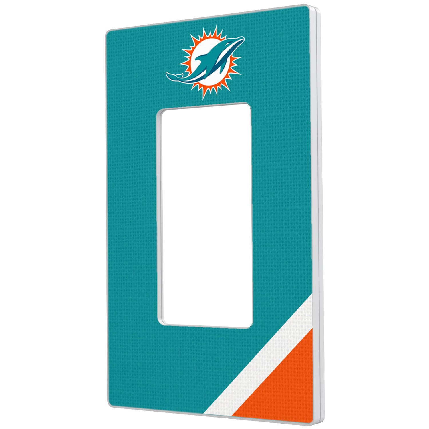 Miami Dolphins Diagonal Stripe Single Rocker Light Switch Plate