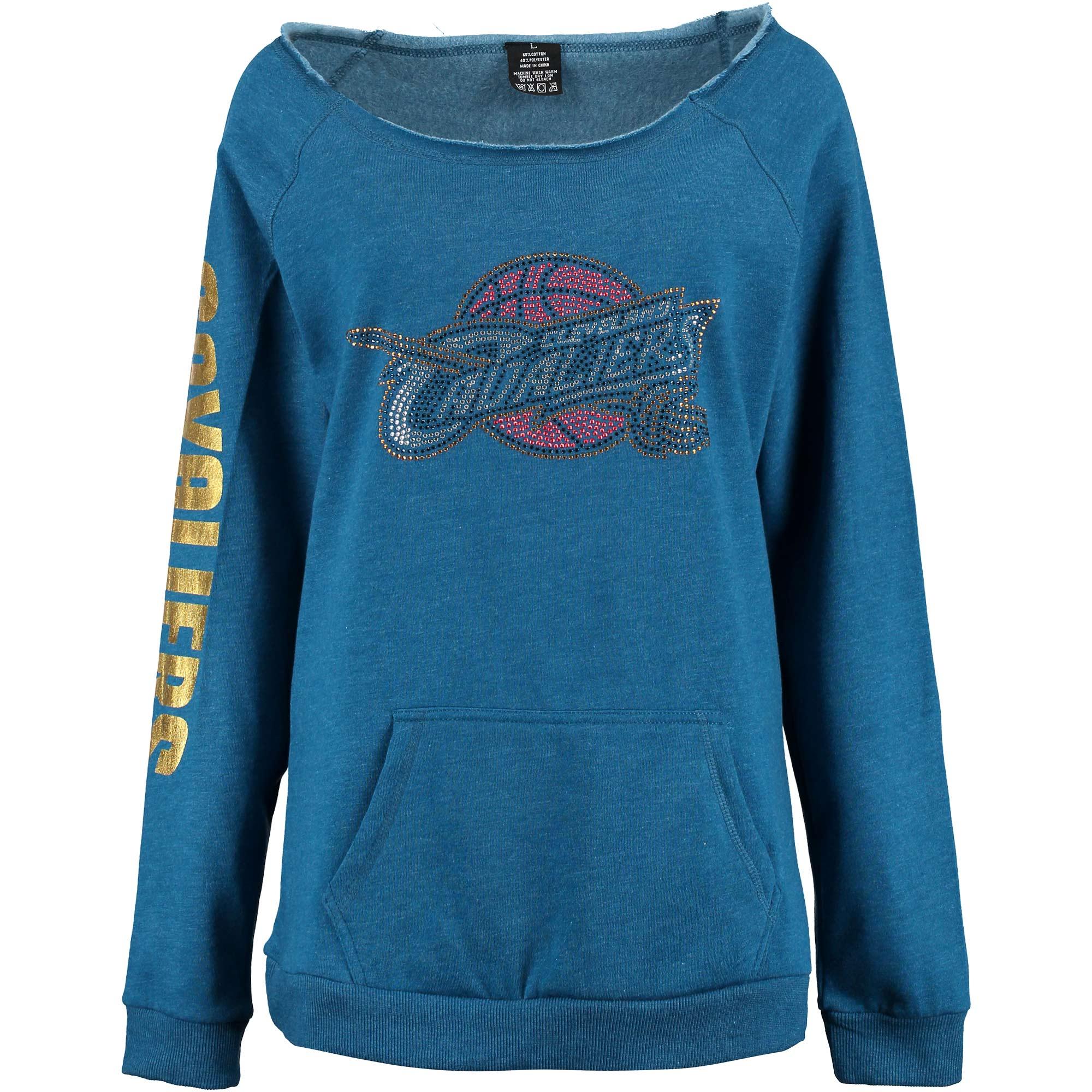 Cleveland Cavaliers Cuce Women's Sideliner III Off the Shoulder Fleece Top - Blue