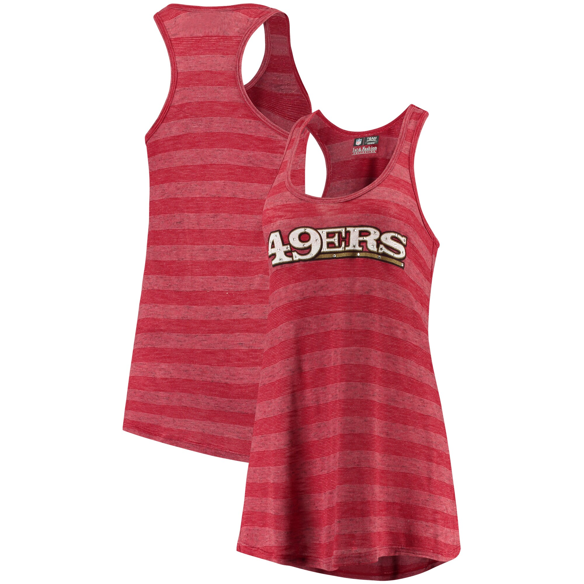 San Francisco 49ers Women's Bling Racerback Slub Knit Tri-Blend Tank Top - Scarlet