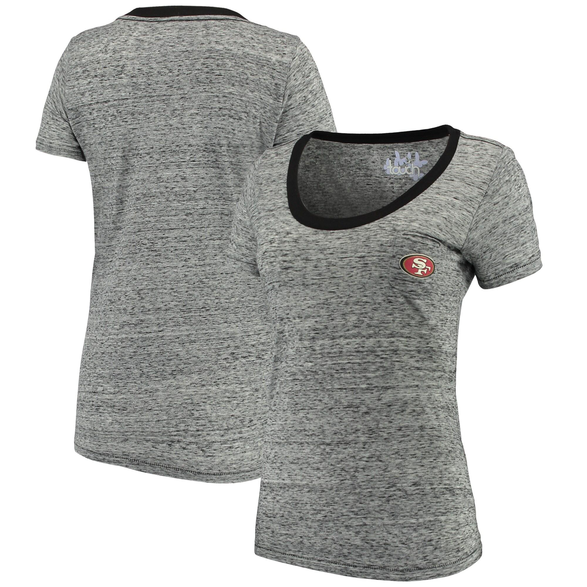 San Francisco 49ers Touch by Alyssa Milano Women's Autumn Scoop Neck T-Shirt - Heathered Black