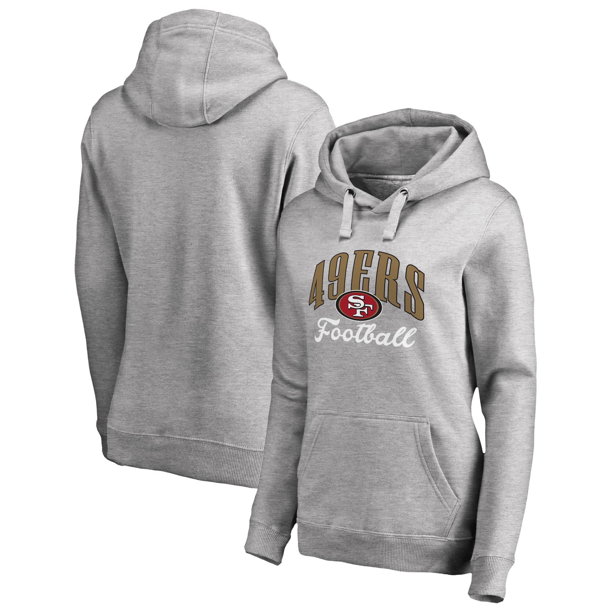 San Francisco 49ers NFL Pro Line by Fanatics Branded Women's Victory Script Pullover Hoodie - Heathered Gray