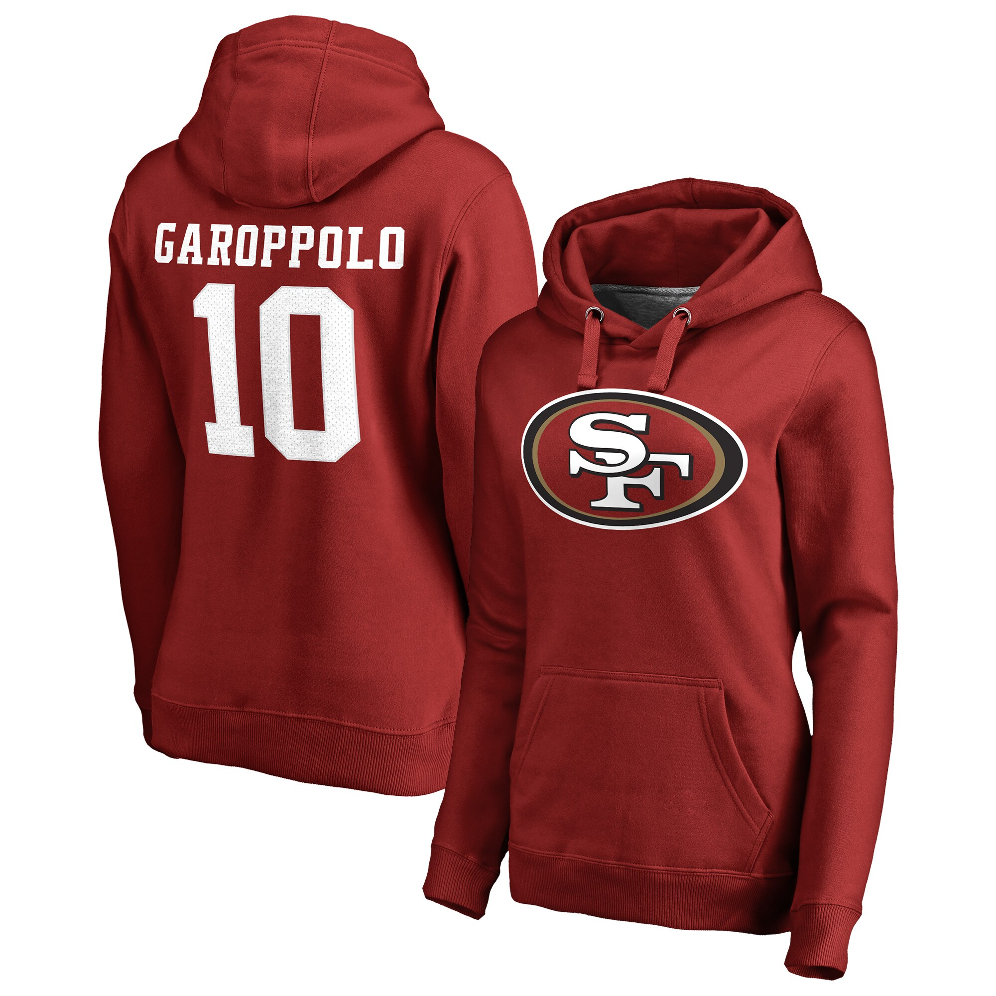 Jimmy Garoppolo San Francisco 49ers NFL Pro Line by Fanatics Branded Women's Player Icon Name & Number Pullover Hoodie - Scarlet