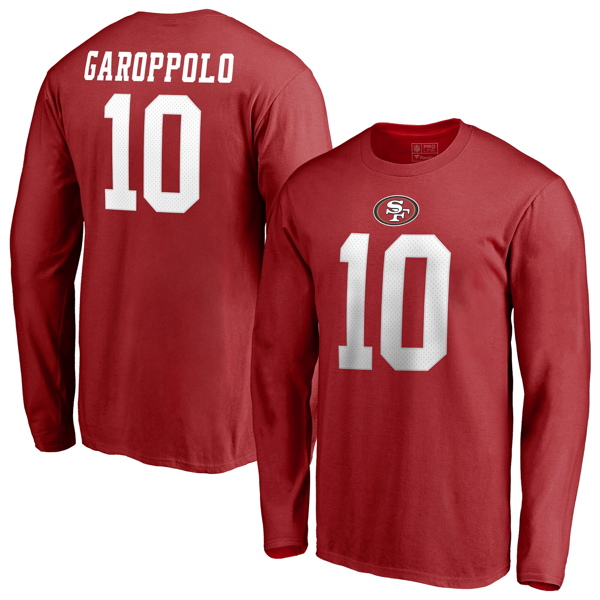 Jimmy Garoppolo San Francisco 49ers NFL Pro Line by Fanatics Branded Authentic Stack Name & Number Long Sleeve T-Shirt - Red