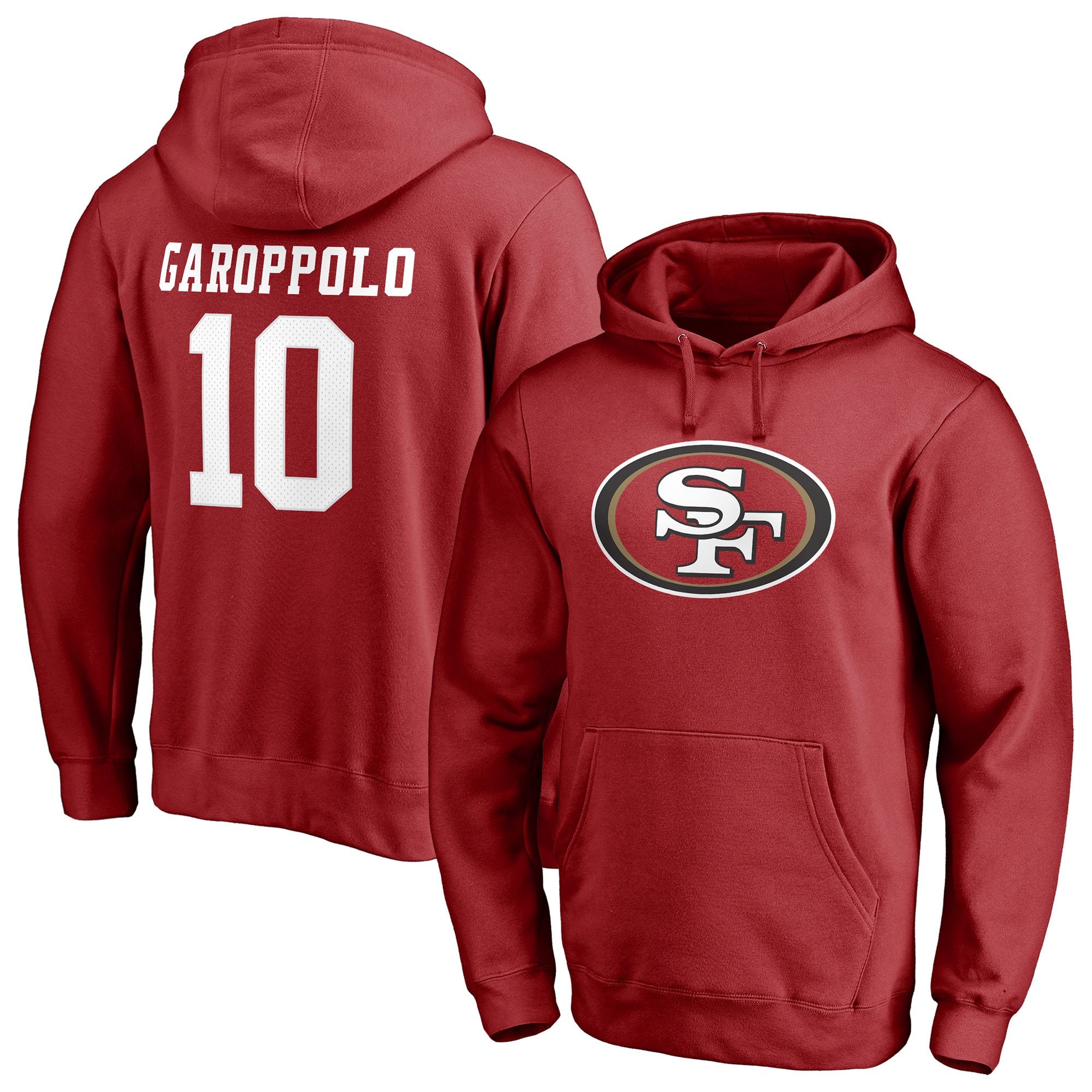Jimmy Garoppolo San Francisco 49ers NFL Pro Line by Fanatics Branded Player Icon Name & Number Pullover Hoodie - Red