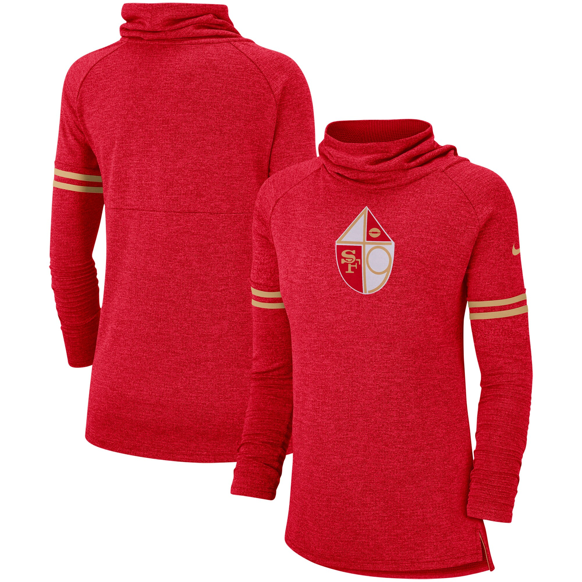 San Francisco 49ers Nike Women's Historic Marks Long Sleeve Tri-Blend Funnel Sweatshirt - Scarlet