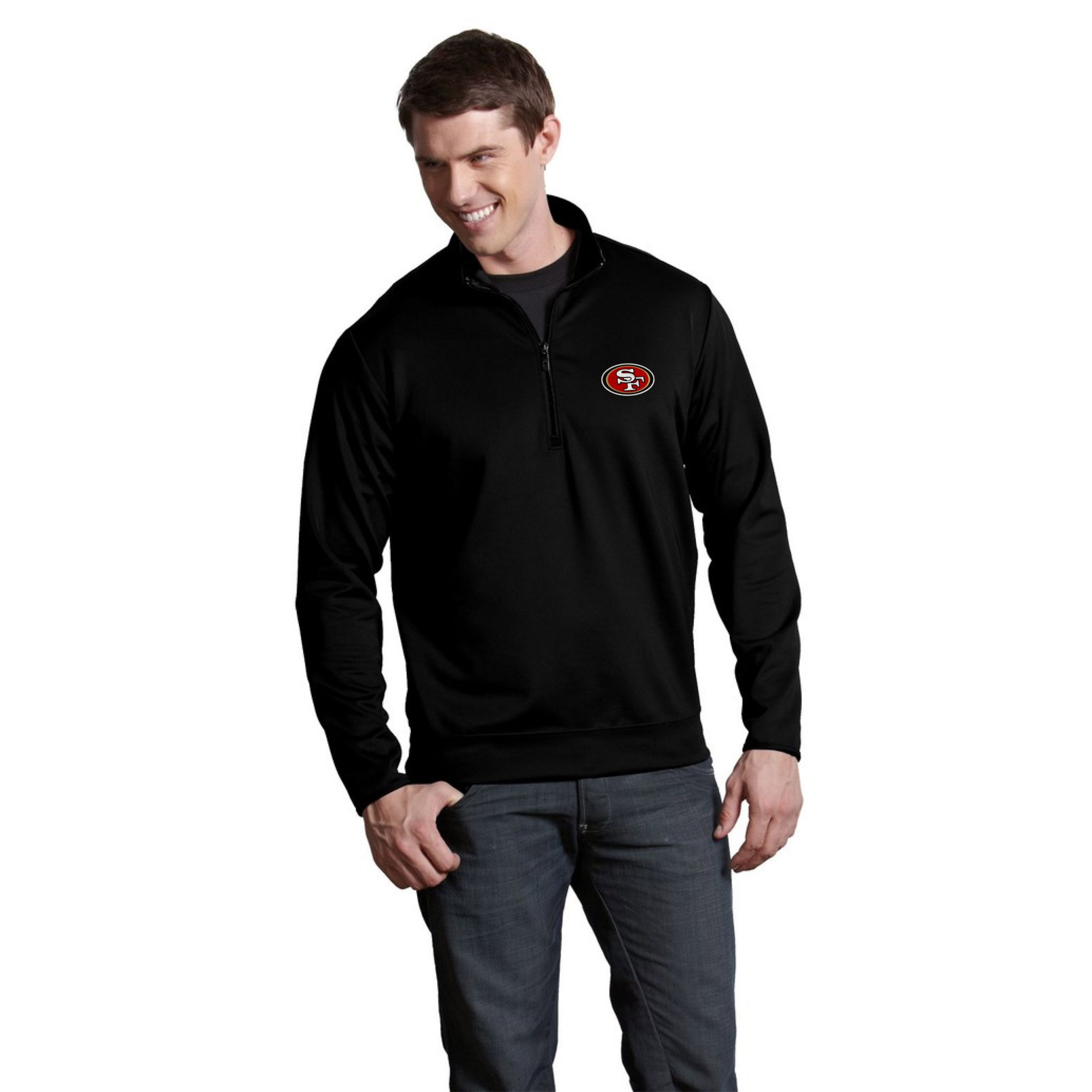 San Francisco 49ers Antigua Leader Quarter-Zip Pullover Jacket - Black