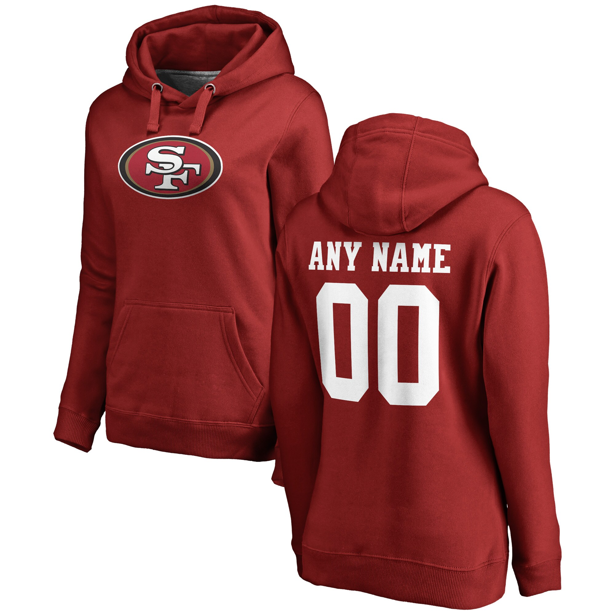 San Francisco 49ers NFL Pro Line Women's Any Name & Number Logo Personalized Pullover Hoodie - Red