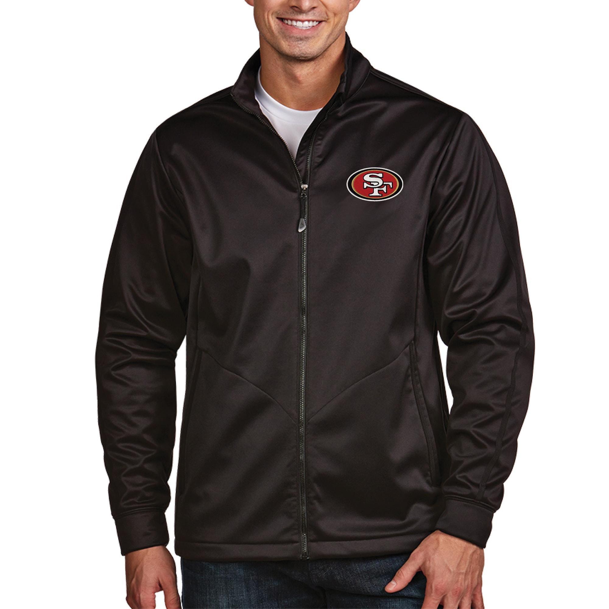San Francisco 49ers Antigua Full-Zip Golf Jacket - Black