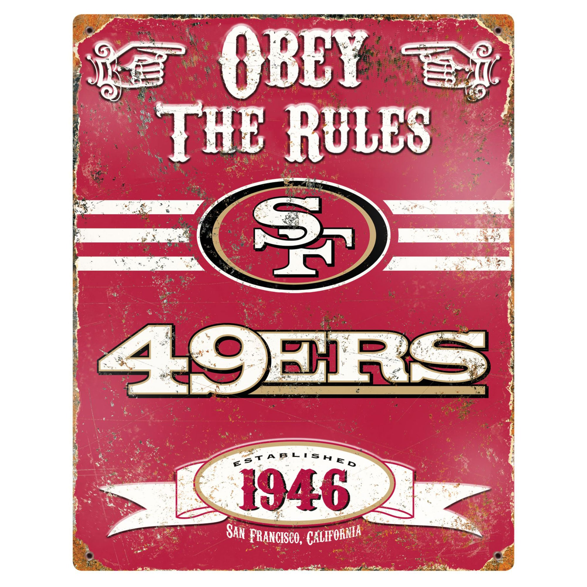 San Francisco 49ers 14.5'' x 11.5'' Embossed Metal Sign