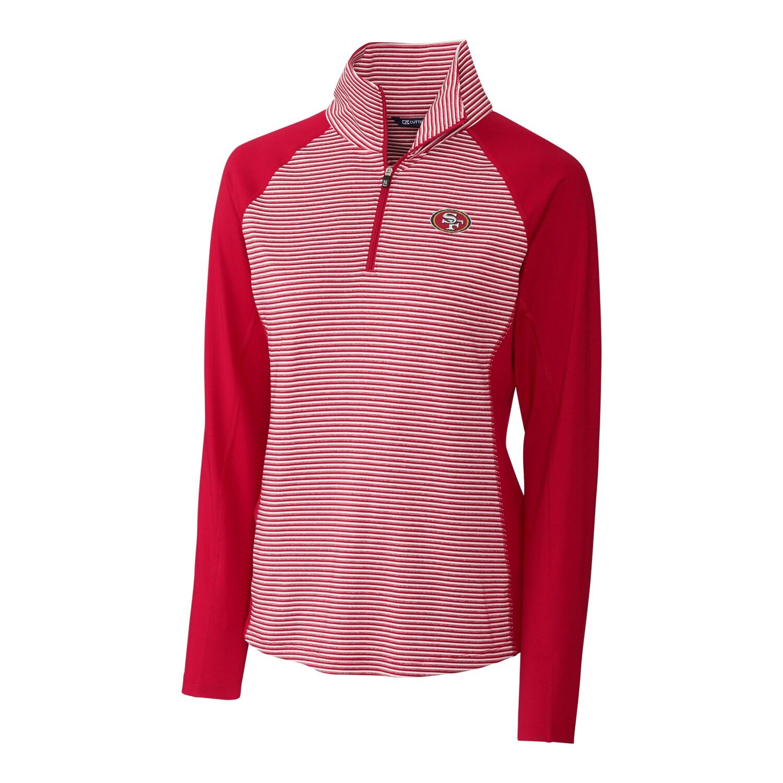 San Francisco 49ers Cutter & Buck Women's Forge Tonal Stripe Half-Zip Pullover Jacket - Red