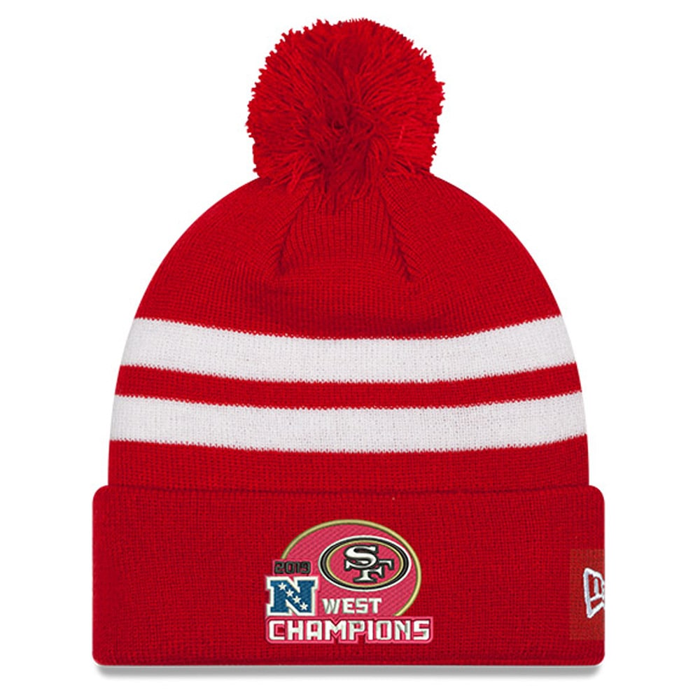 San Francisco 49ers New Era 2019 NFC West Division ChampionsStripe Cuffed Pom Knit Hat - Scarlet