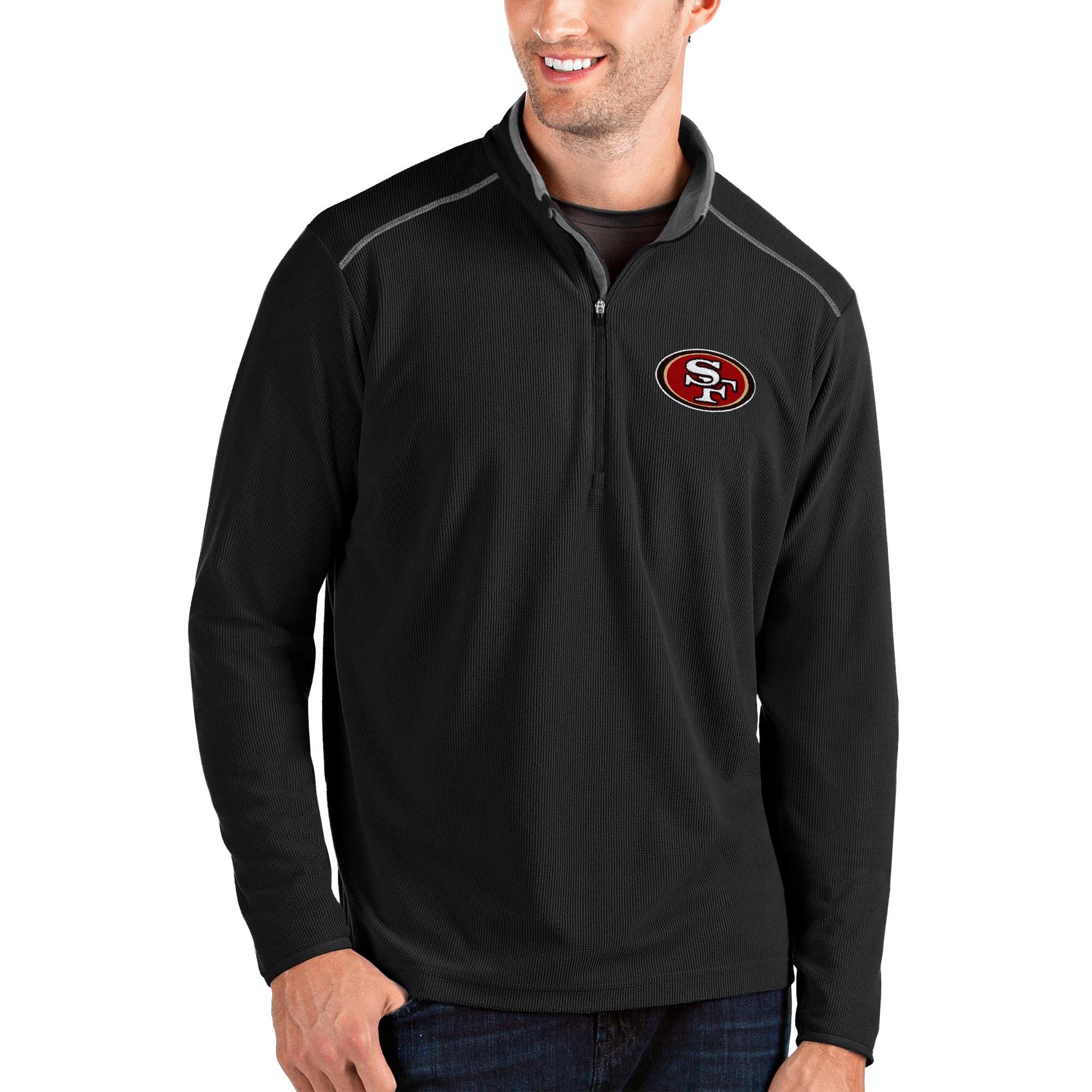San Francisco 49ers Antigua Glacier Quarter-Zip Pullover Jacket - Black/Gray