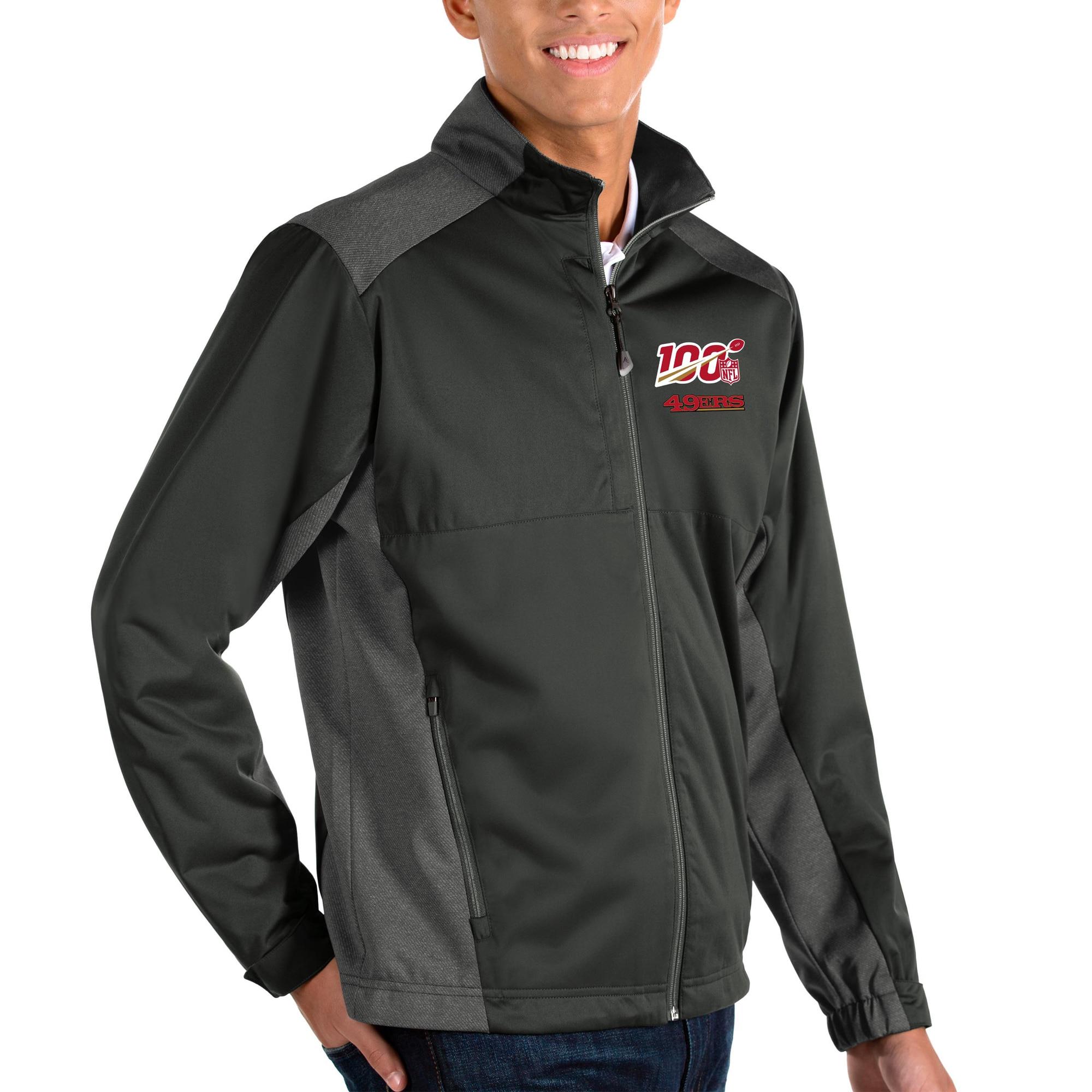 San Francisco 49ers Antigua NFL 100 Revolve Full-Zip Jacket - Charcoal/Heather Charcoal