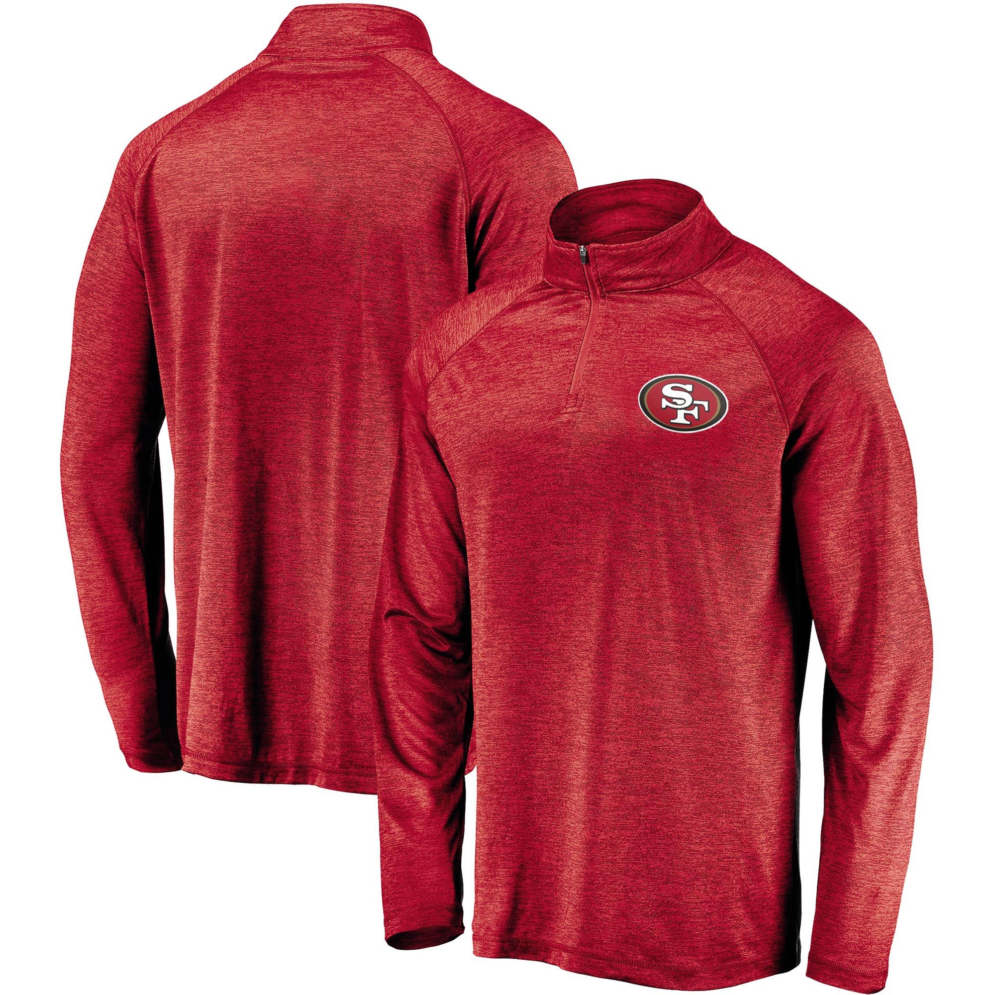 San Francisco 49ers NFL Pro Line by Fanatics Branded Striated Primary Logo Raglan Quarter-Zip Pullover Jacket - Scarlet