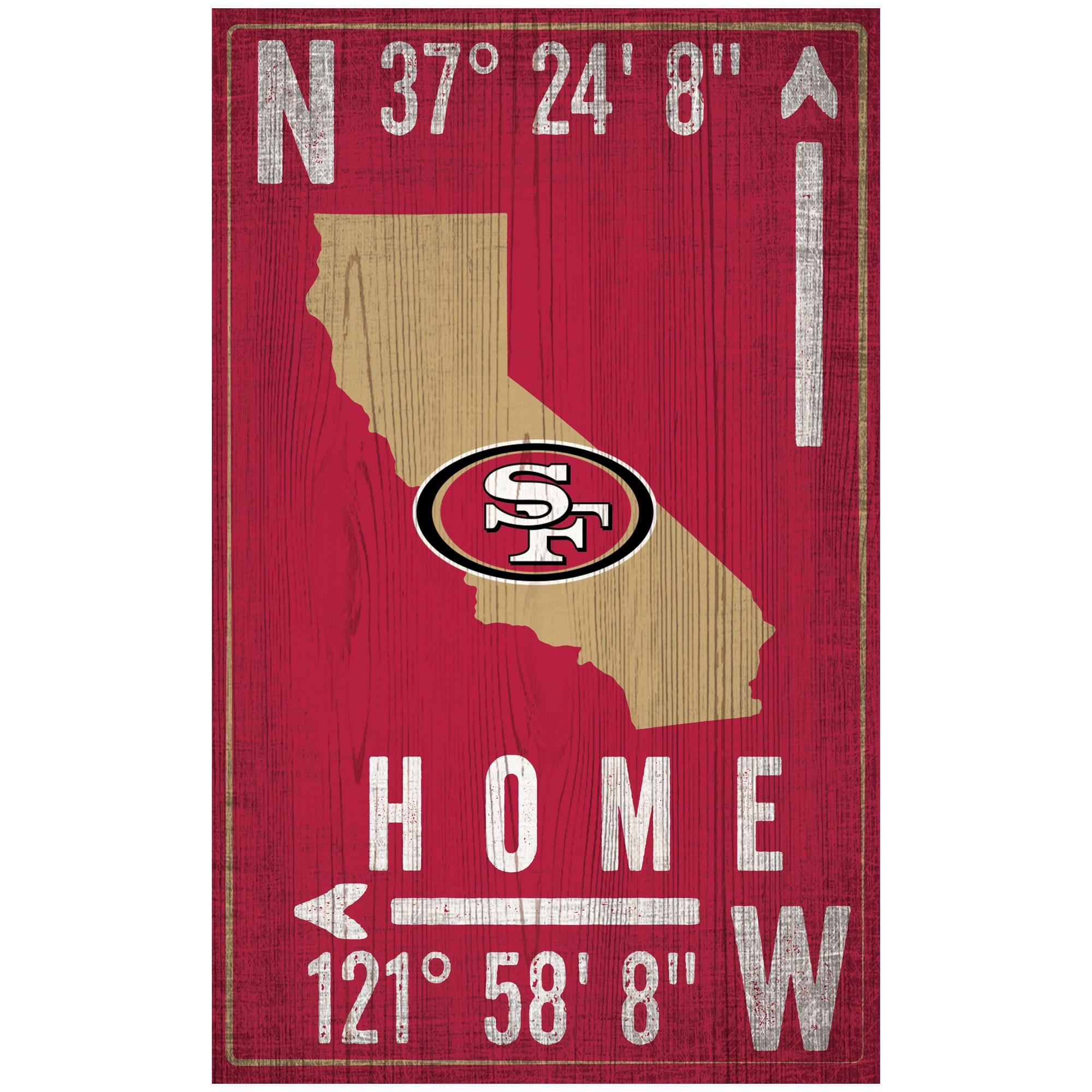 "San Francisco 49ers 11"" x 19"" Coordinate Sign"