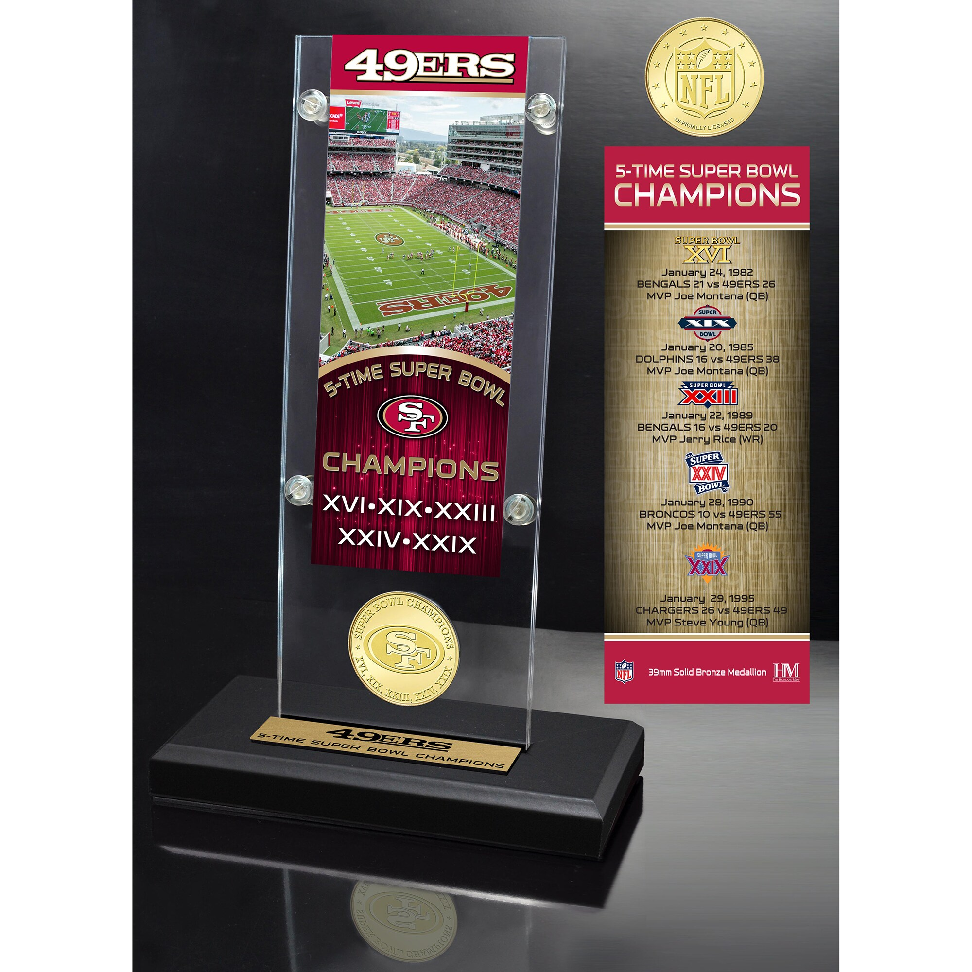 San Francisco 49ers Highland Mint 5-Time Super Bowl Champs Ticket Acrylic