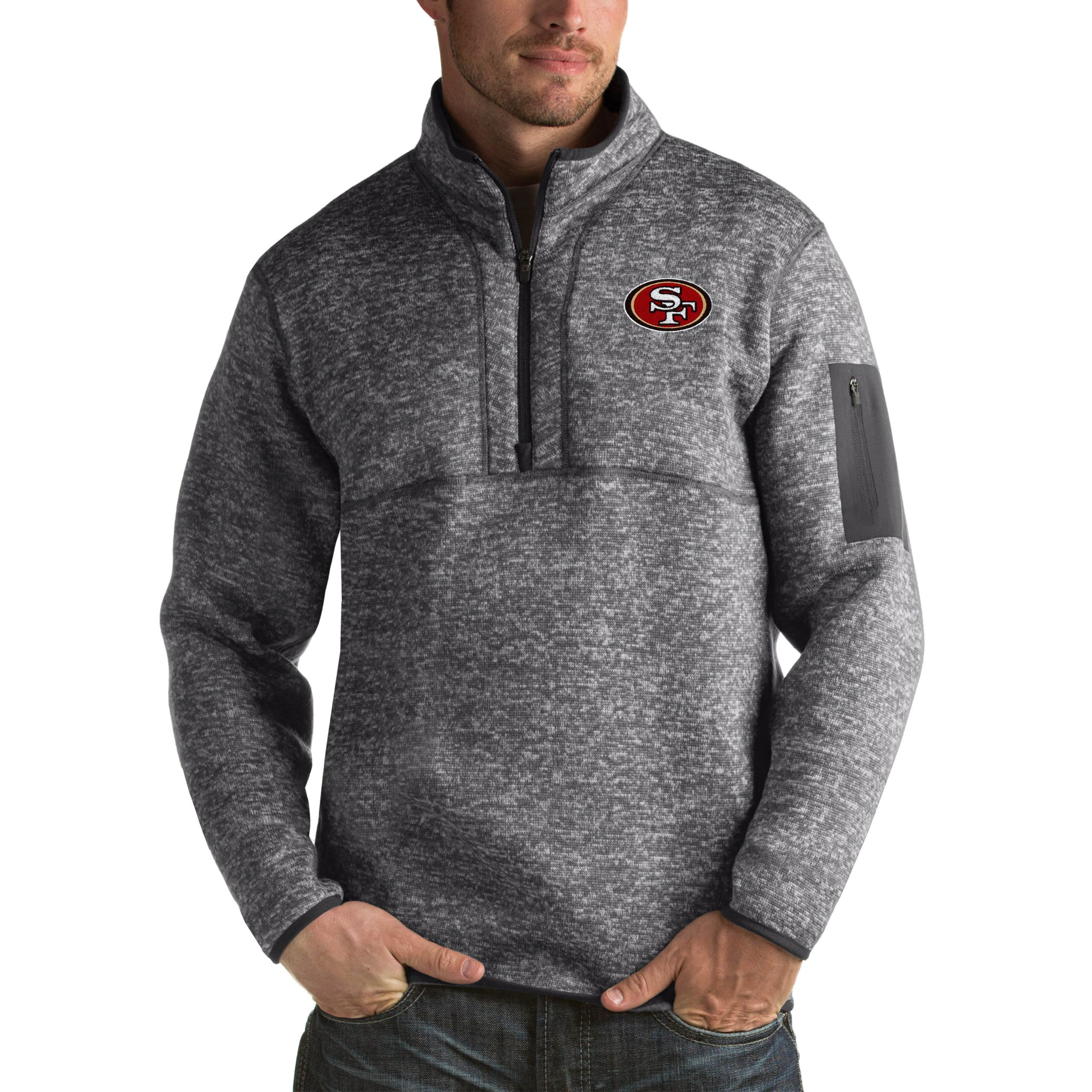 San Francisco 49ers Antigua Fortune Big & Tall Quarter-Zip Pullover Jacket - Charcoal