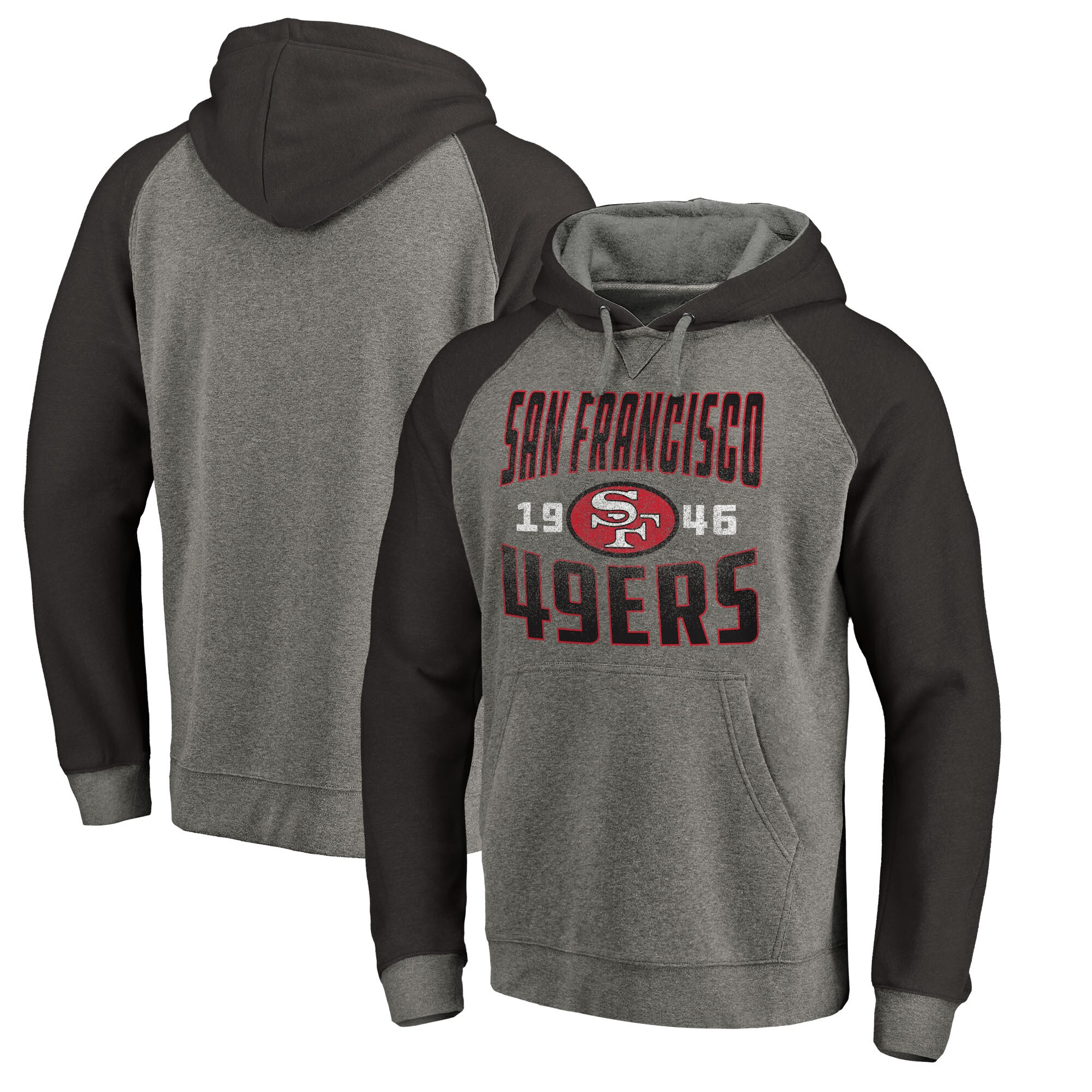 San Francisco 49ers NFL Pro Line by Fanatics Branded Timeless Collection Antique Stack Tri-Blend Raglan Pullover Hoodie - Ash