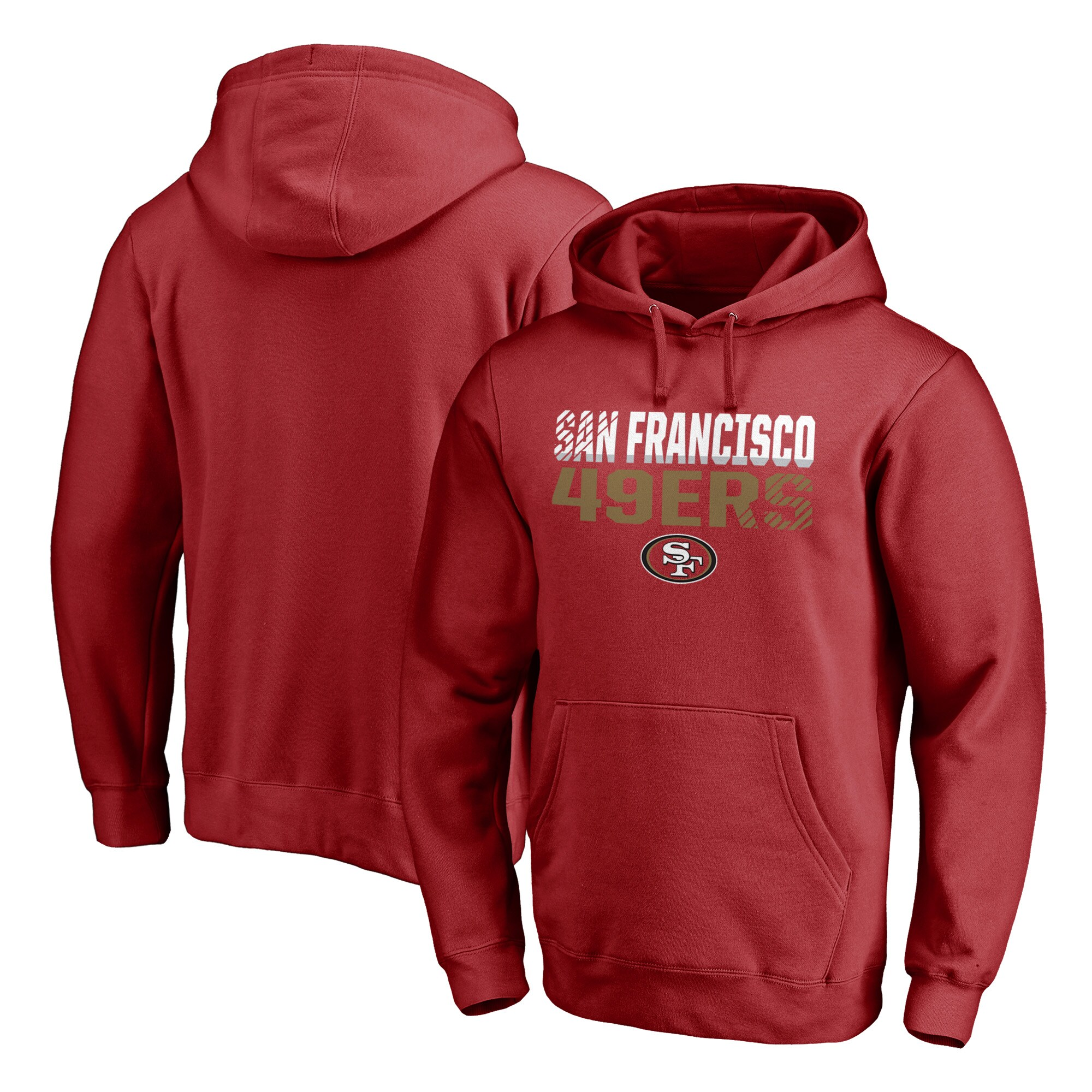 San Francisco 49ers NFL Pro Line by Fanatics Branded Iconic Collection Fade Out Pullover Hoodie - Scarlet