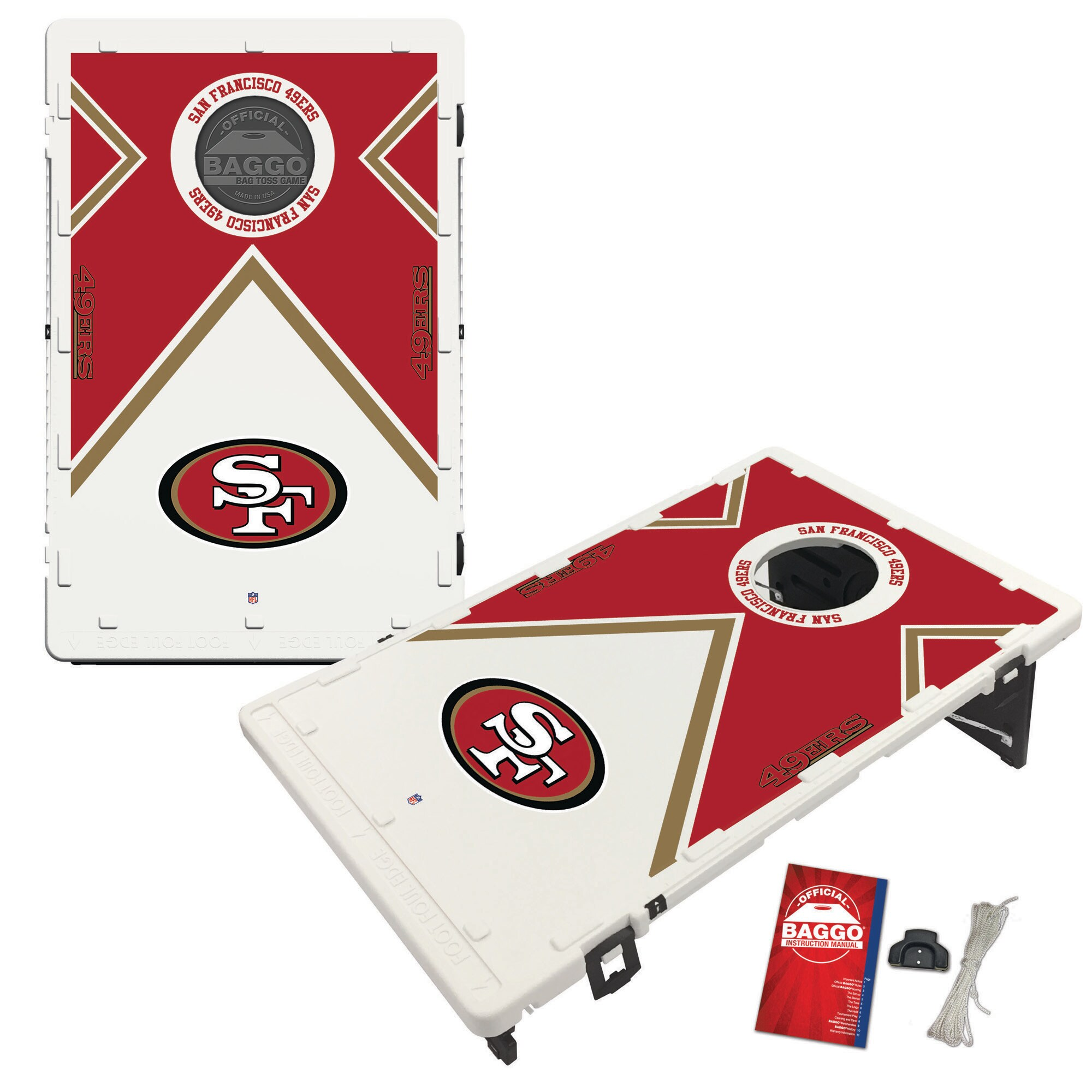 San Francisco 49ers 2' x 3' BAGGO Vintage Cornhole Board Tailgate Toss Set