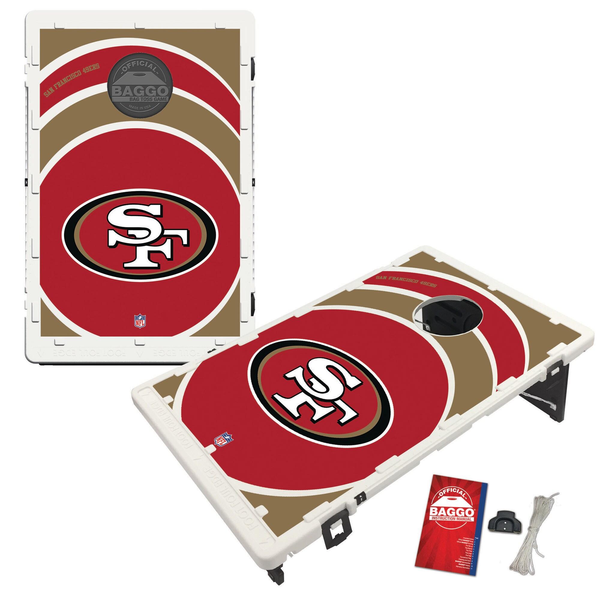San Francisco 49ers 2' x 3' BAGGO Vortex Cornhole Board Tailgate Toss Set