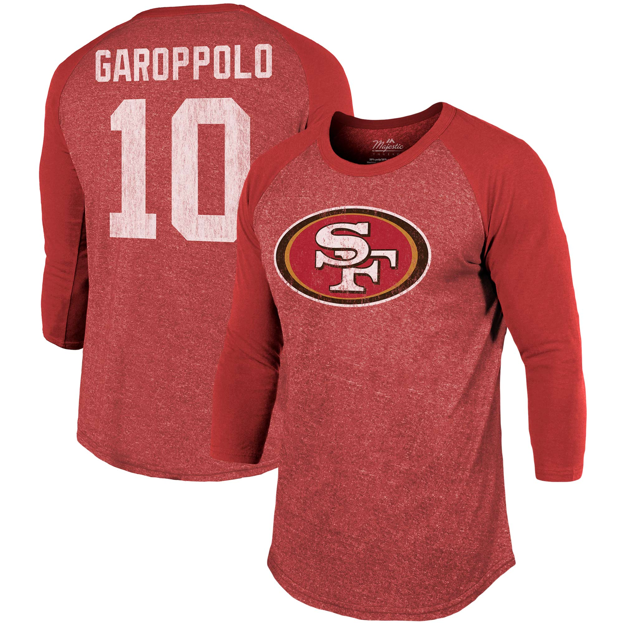 Jimmy Garoppolo San Francisco 49ers Majestic Threads Player Name & Number Tri-Blend 3/4-Sleeve Raglan T-Shirt - Scarlet