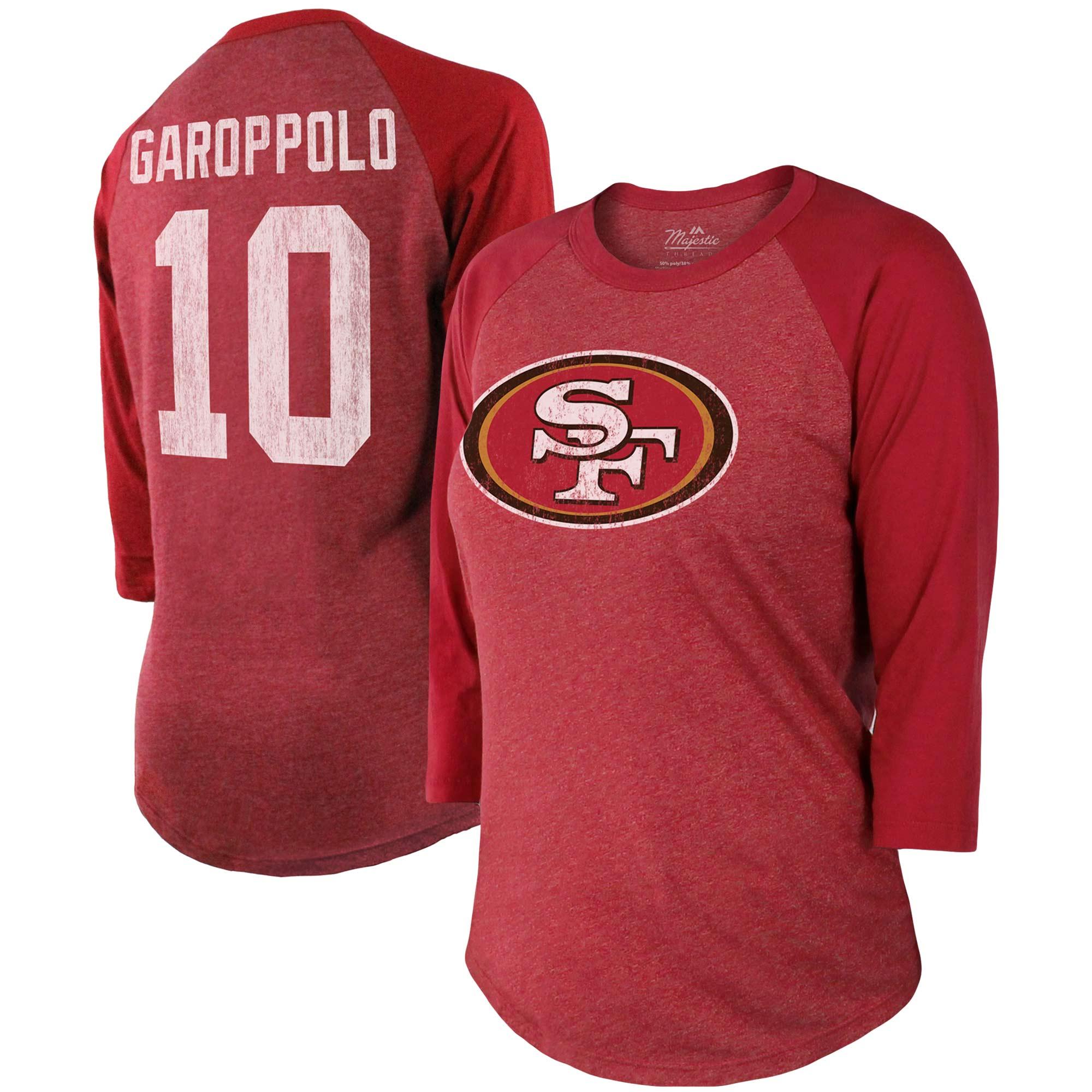 Jimmy Garoppolo San Francisco 49ers Majestic Women's Player Name & Number Tri-Blend 3/4-Sleeve Raglan Sleeves - Scarlet