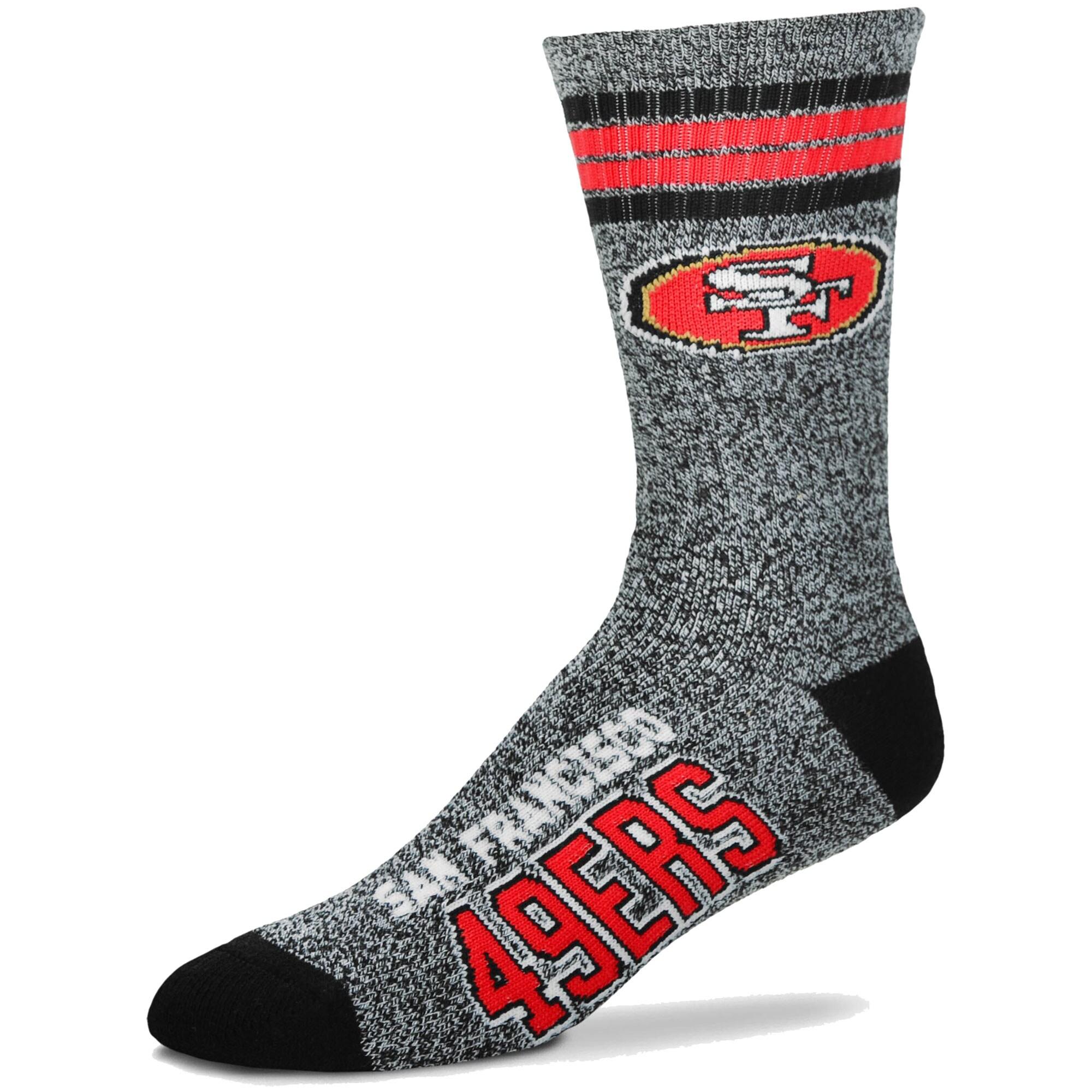 San Francisco 49ers For Bare Feet Got Marble Crew Socks - Gray