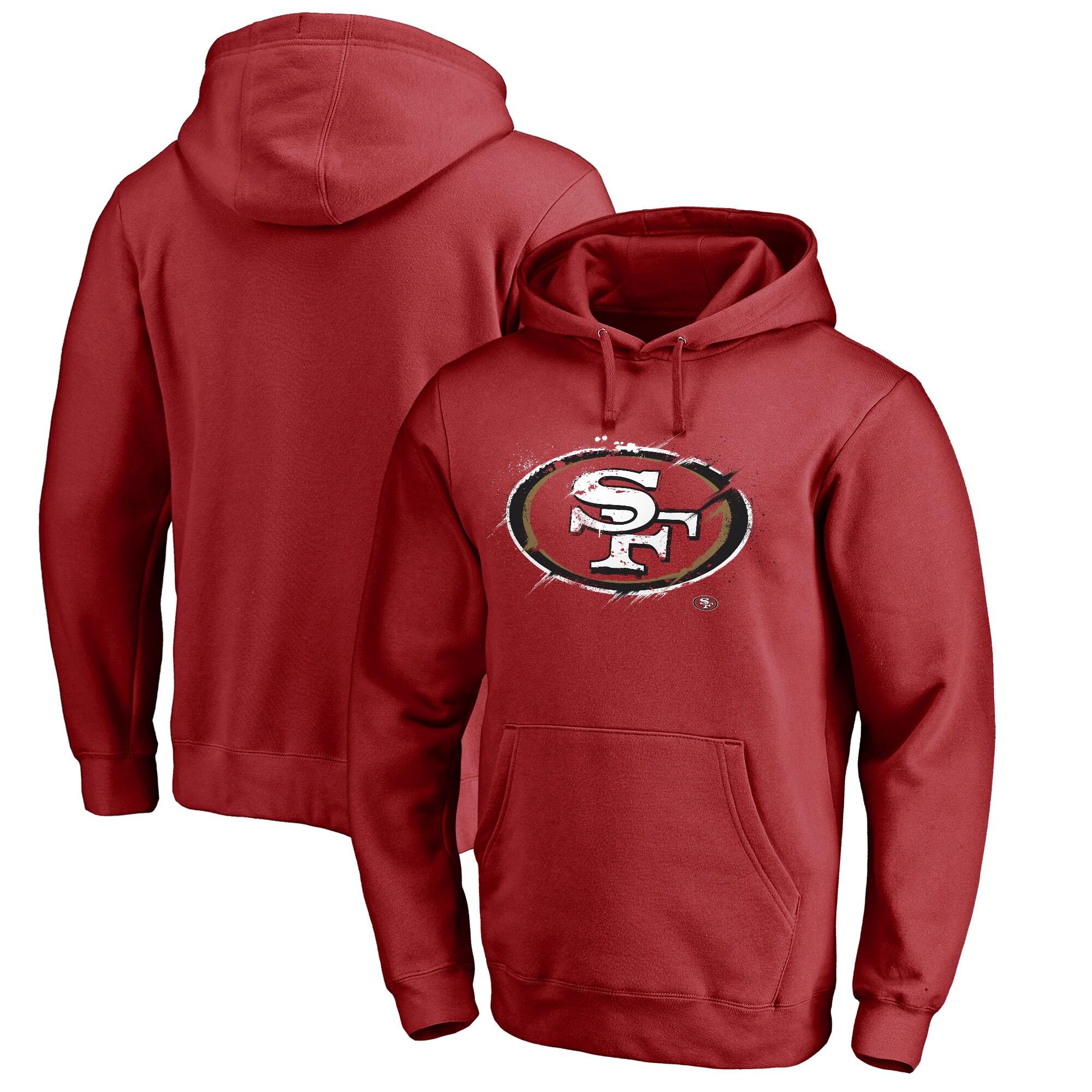 San Francisco 49ers NFL Pro Line by Fanatics Branded Splatter Logo Pullover Hoodie - Scarlet