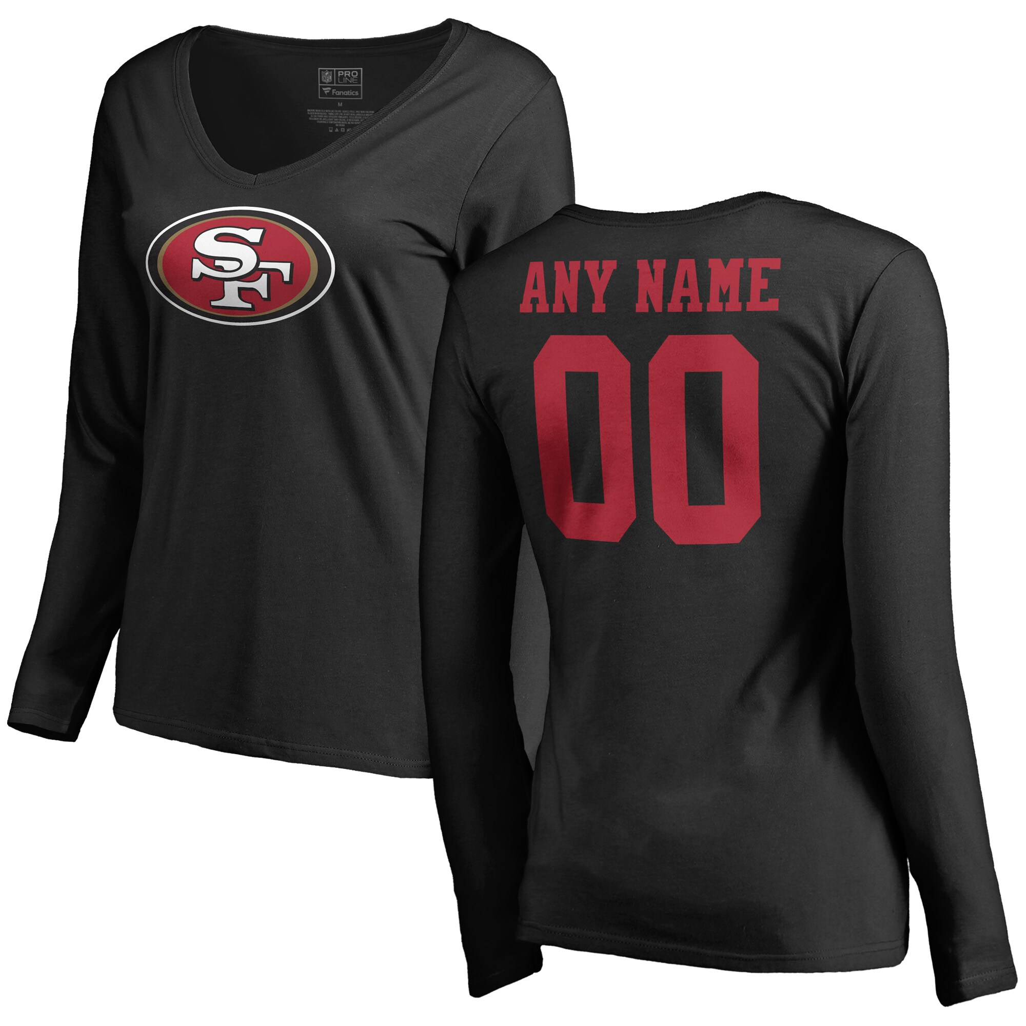 San Francisco 49ers NFL Pro Line Women's Personalized Name & Number Logo Long Sleeve T-Shirt - Black