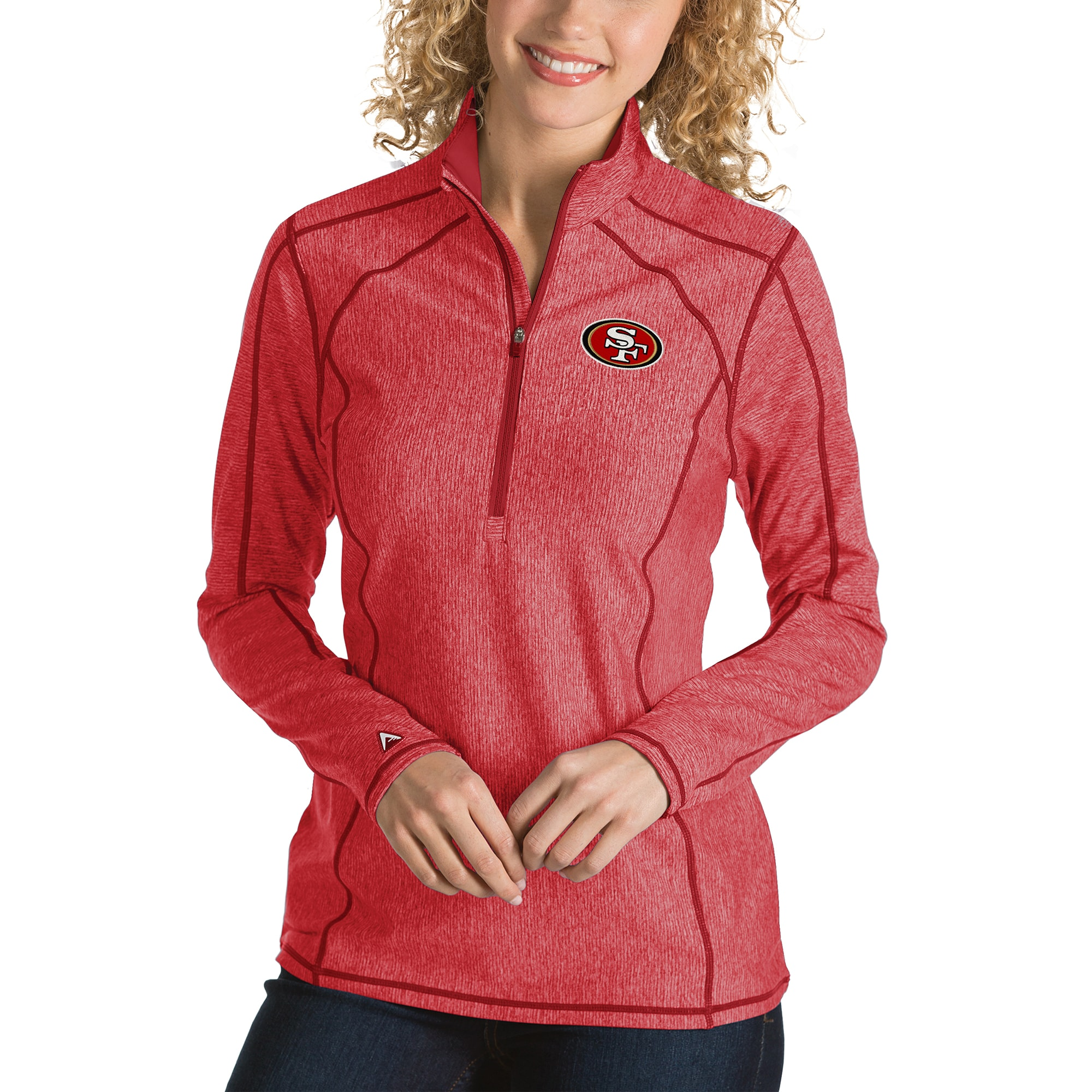 San Francisco 49ers Antigua Women's Tempo Desert Dry Quarter-Zip Jacket - Heather Red