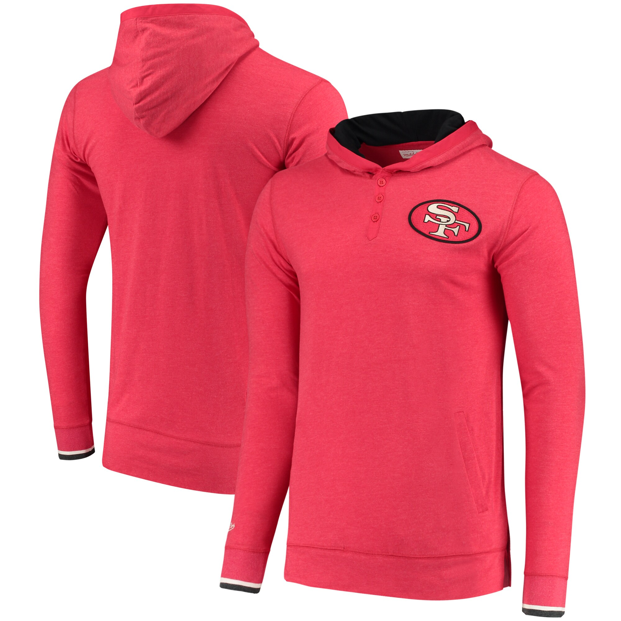 San Francisco 49ers Mitchell & Ness Seal the Win Hoodie Long Sleeve T-Shirt - Heathered Scarlet