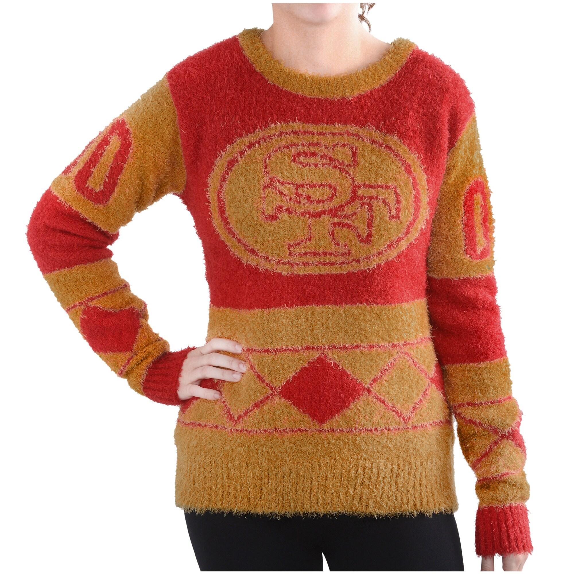 San Francisco 49ers Klew Women's Eyelash Crew Ugly Sweater - Scarlet