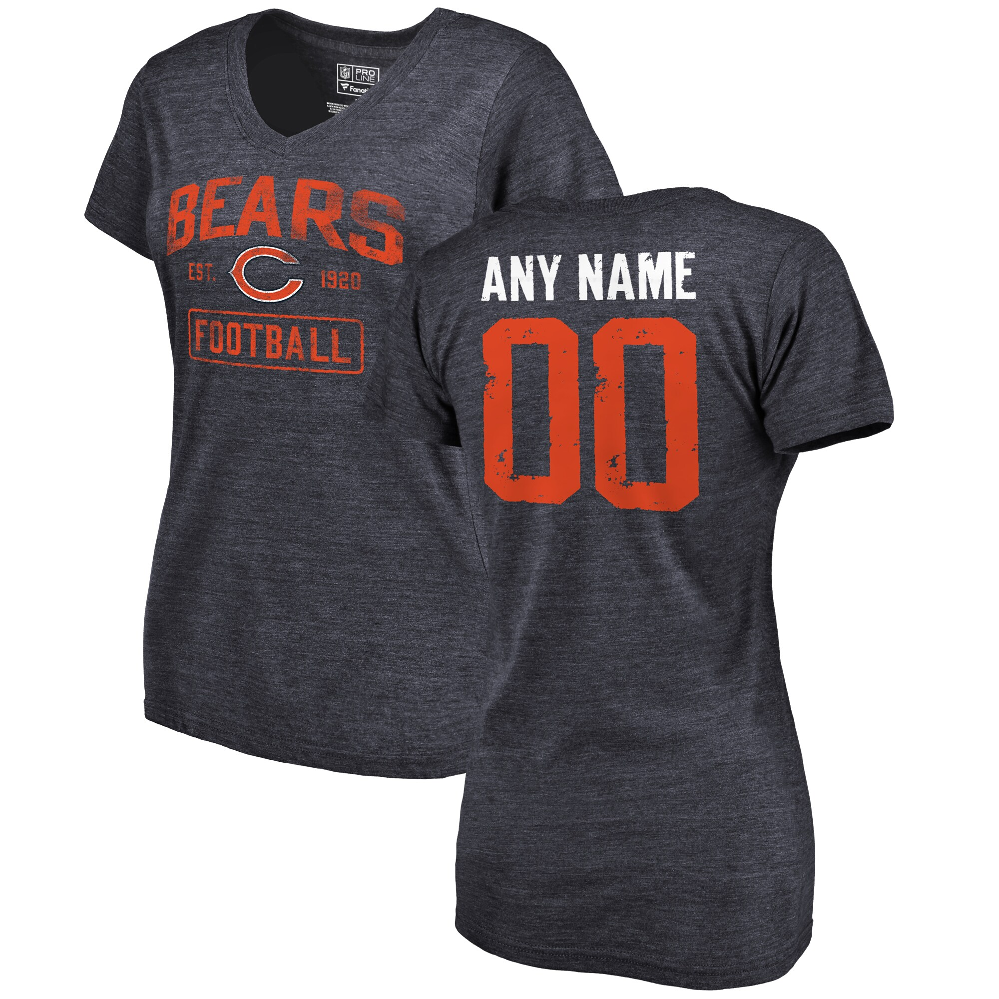 Chicago Bears NFL Pro Line by Fanatics Branded Women's Distressed Personalized Tri-Blend V-Neck T-Shirt - Navy