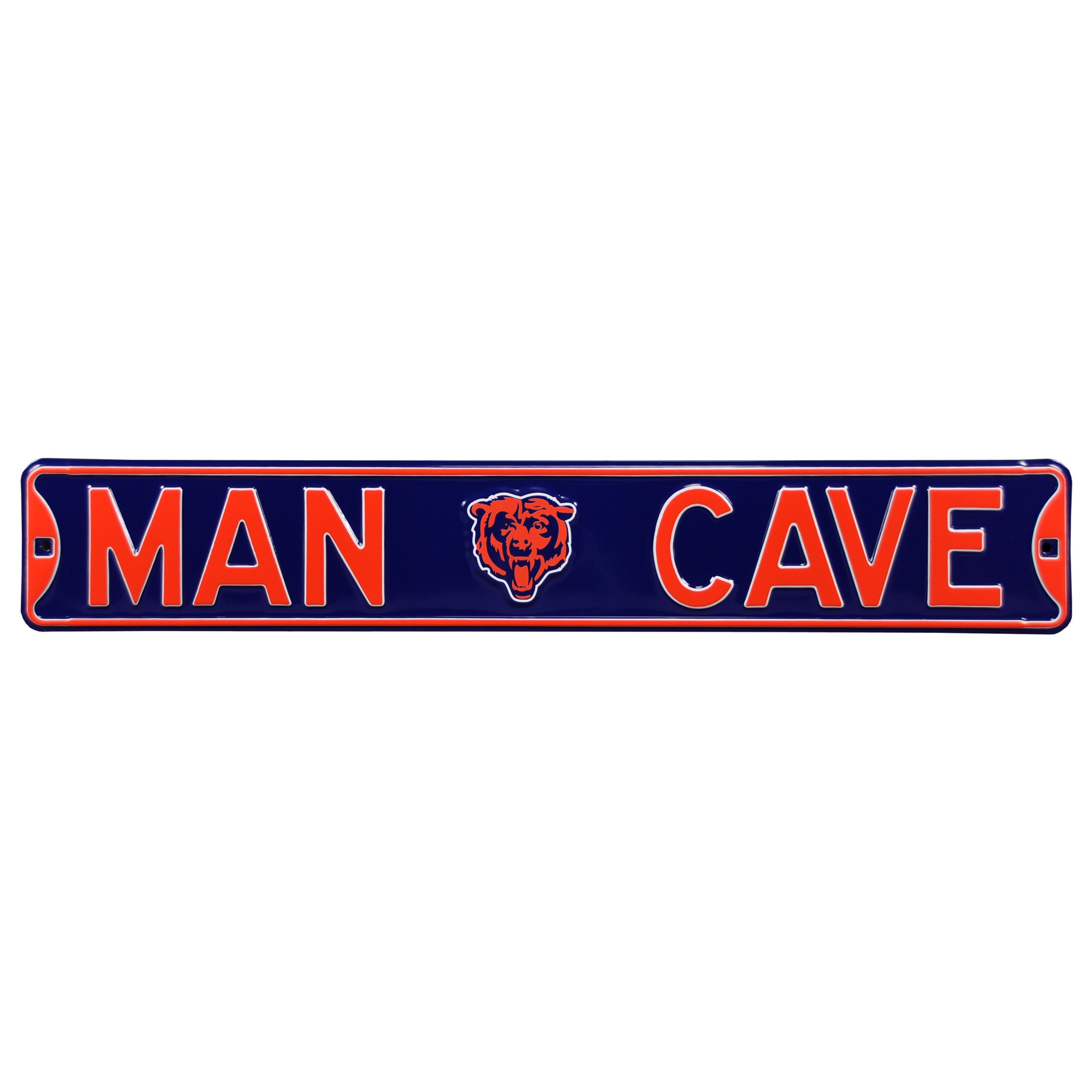 "Chicago Bears 6"" x 36"" Man Cave Steel Street Sign - Navy"