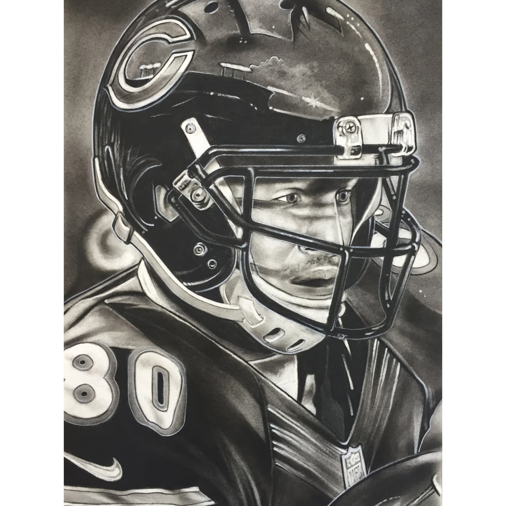 "Chicago Bears Deacon Jones Foundation 30"" x 20"" Helmet Series Fine Art Canvas"