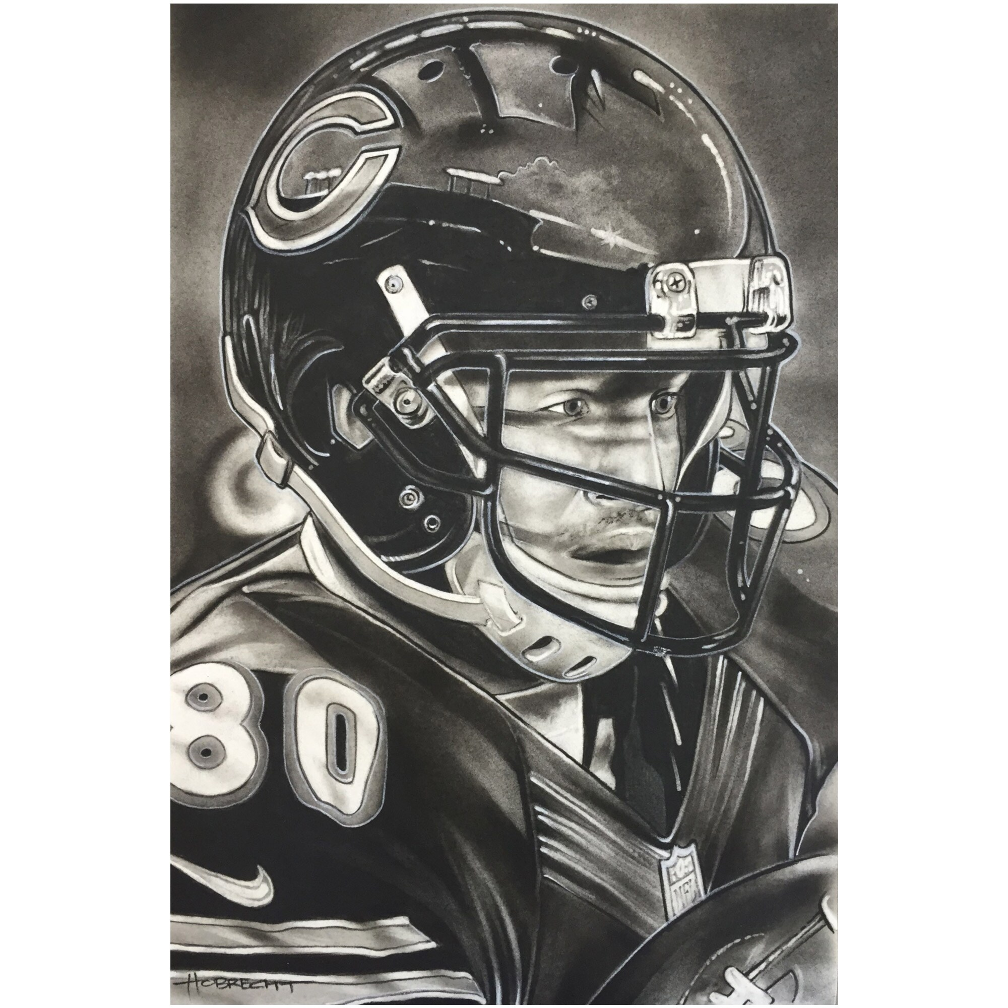 "Chicago Bears Deacon Jones Foundation 14"" x 9"" Helmet Series Fine Art Giclée Canvas"