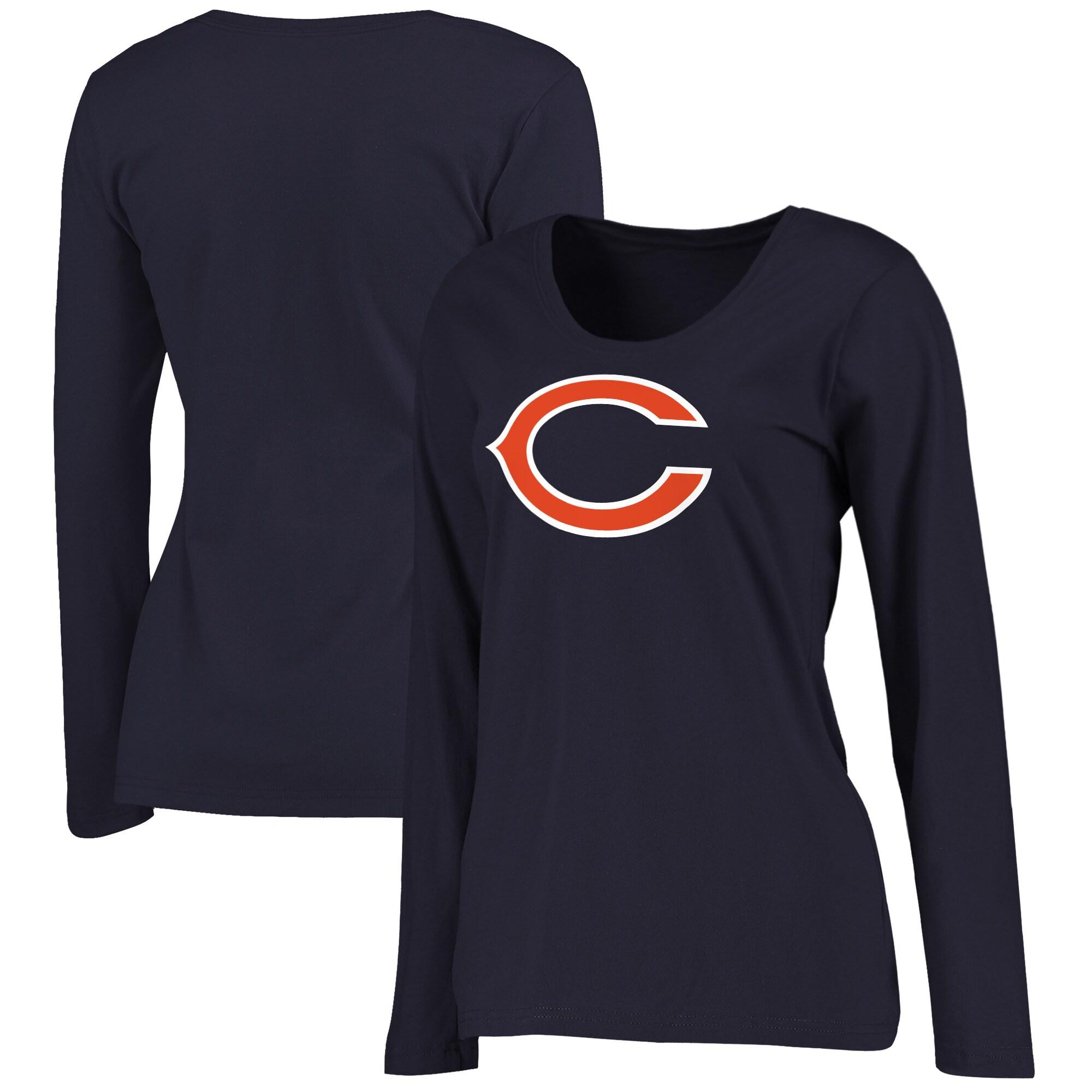 Chicago Bears NFL Pro Line Women's Plus Size Primary Logo Long Sleeve T-Shirt - Navy