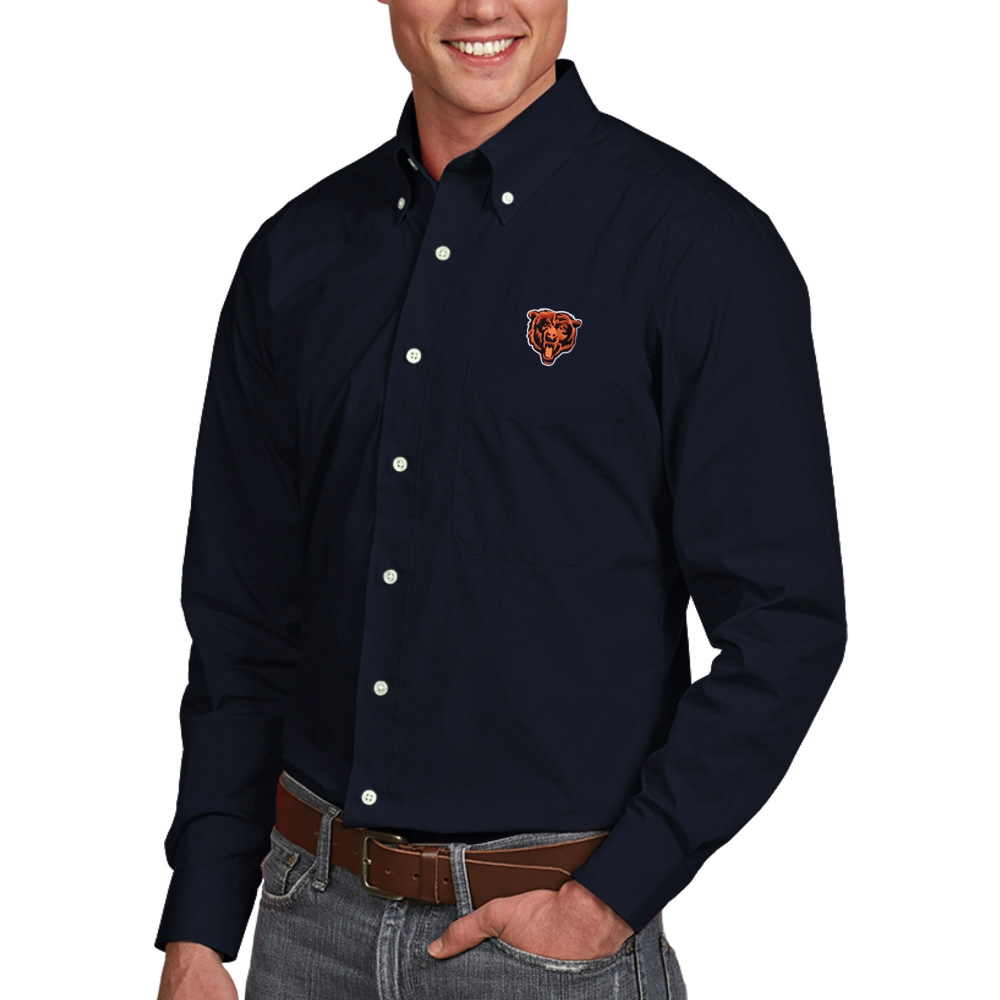 Chicago Bears Antigua Dynasty Woven Long Sleeve Shirt - Navy