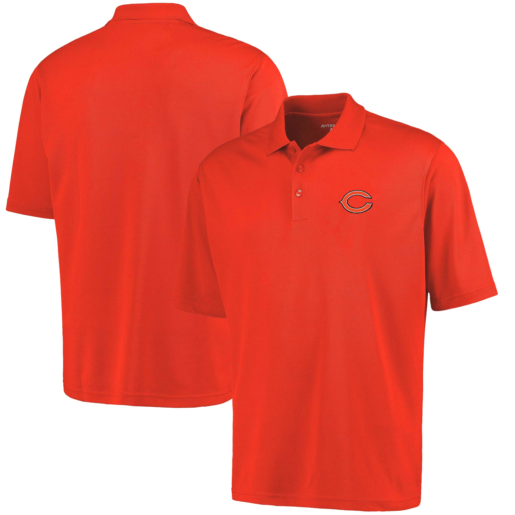 Antigua Chicago Bears Pique Xtra-Lite Polo - Orange