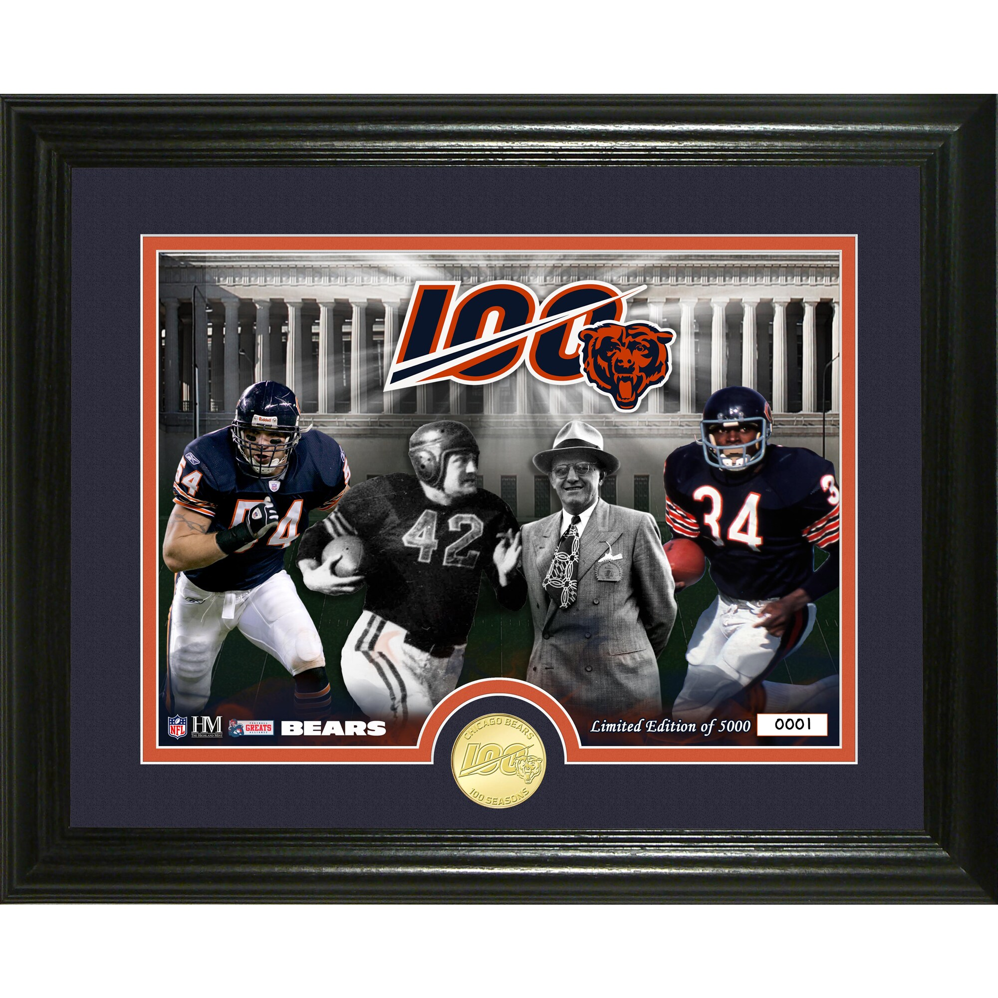 Chicago Bears Highland Mint 13'' x 16'' 100th Season Traditions Bronze Coin Photo Mint