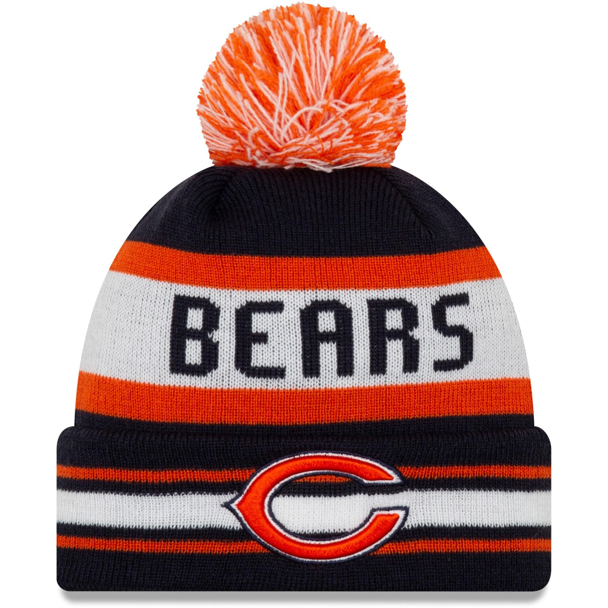 Chicago Bears New Era Jake Striped Cuffed Knit Hat with Pom - Navy