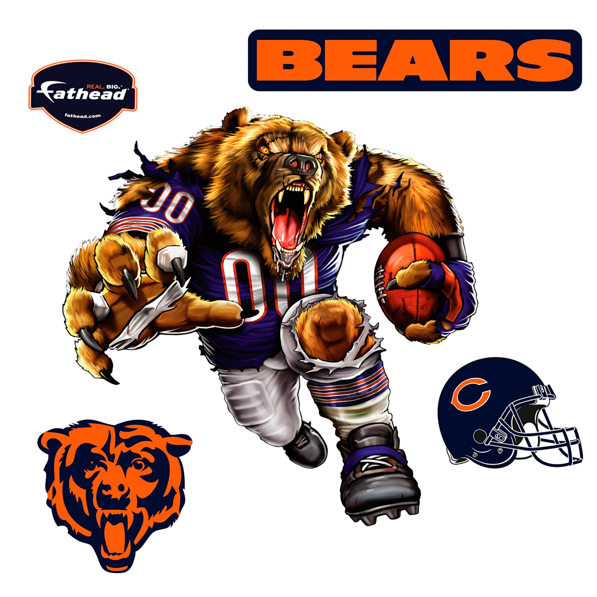Chicago Bears Fathead Bruiser Bear 5-Pack Removable Wall Decal