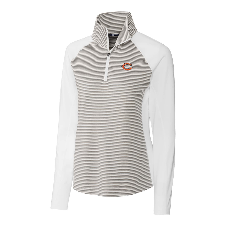 Chicago Bears Cutter & Buck Women's Forge Tonal Stripe Half-Zip Pullover Jacket - White