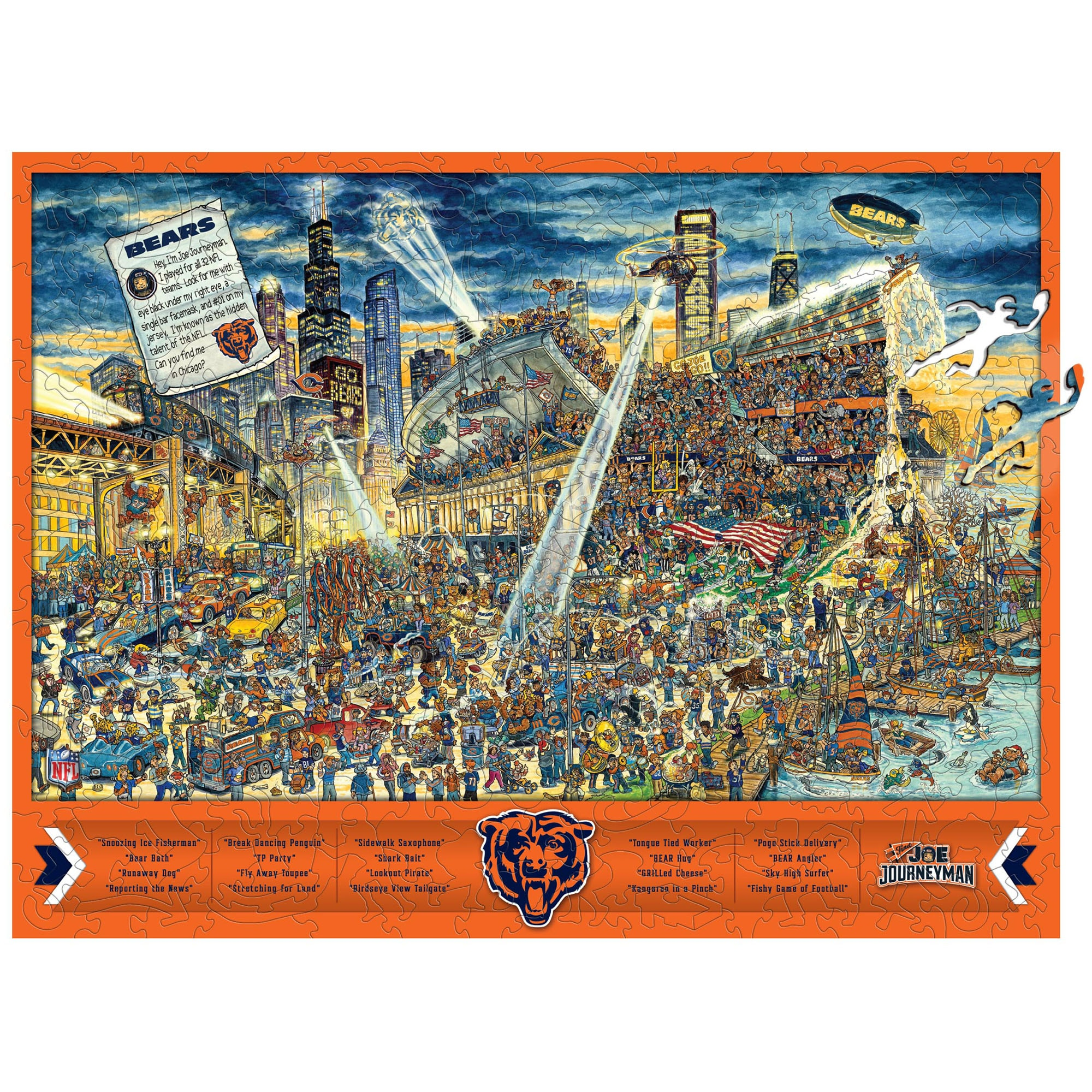 Chicago Bears Wooden Joe Journeyman Puzzle